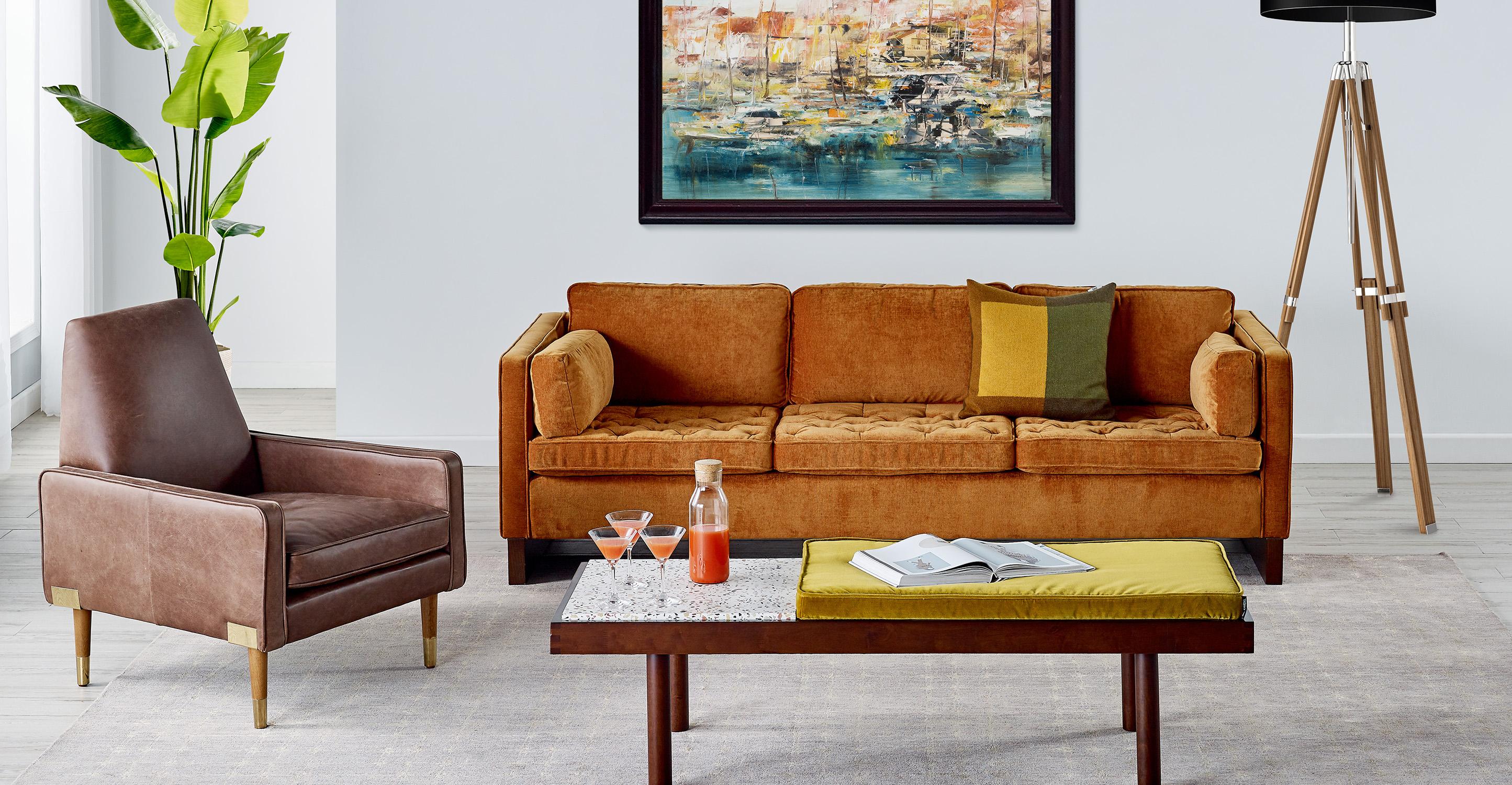 "Wexler 88"" Fabric Sofa, Emerald Velvet"