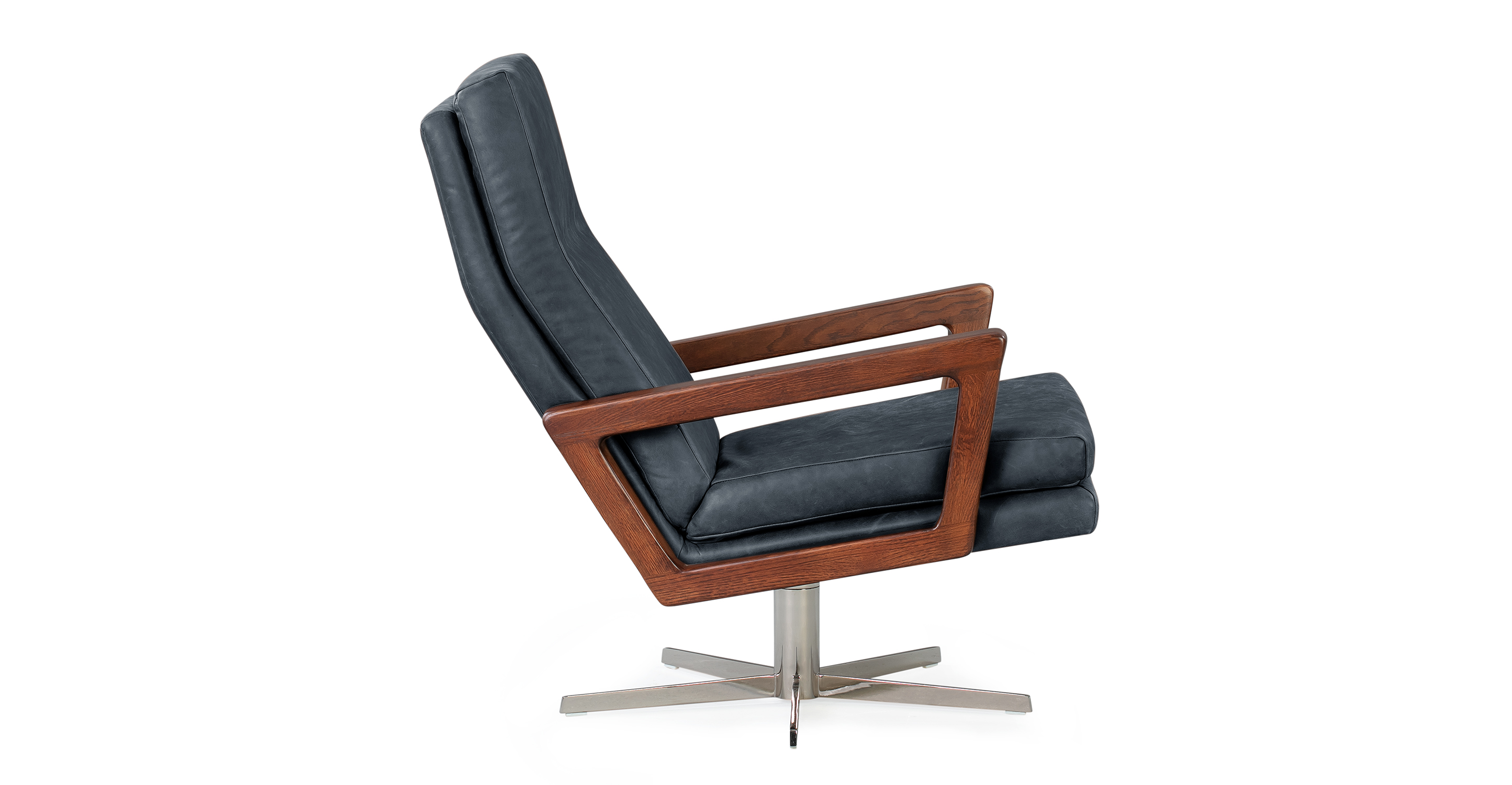 "Winston Swivel 30"" Leather Chair, Black Top Grain Full Aniline"