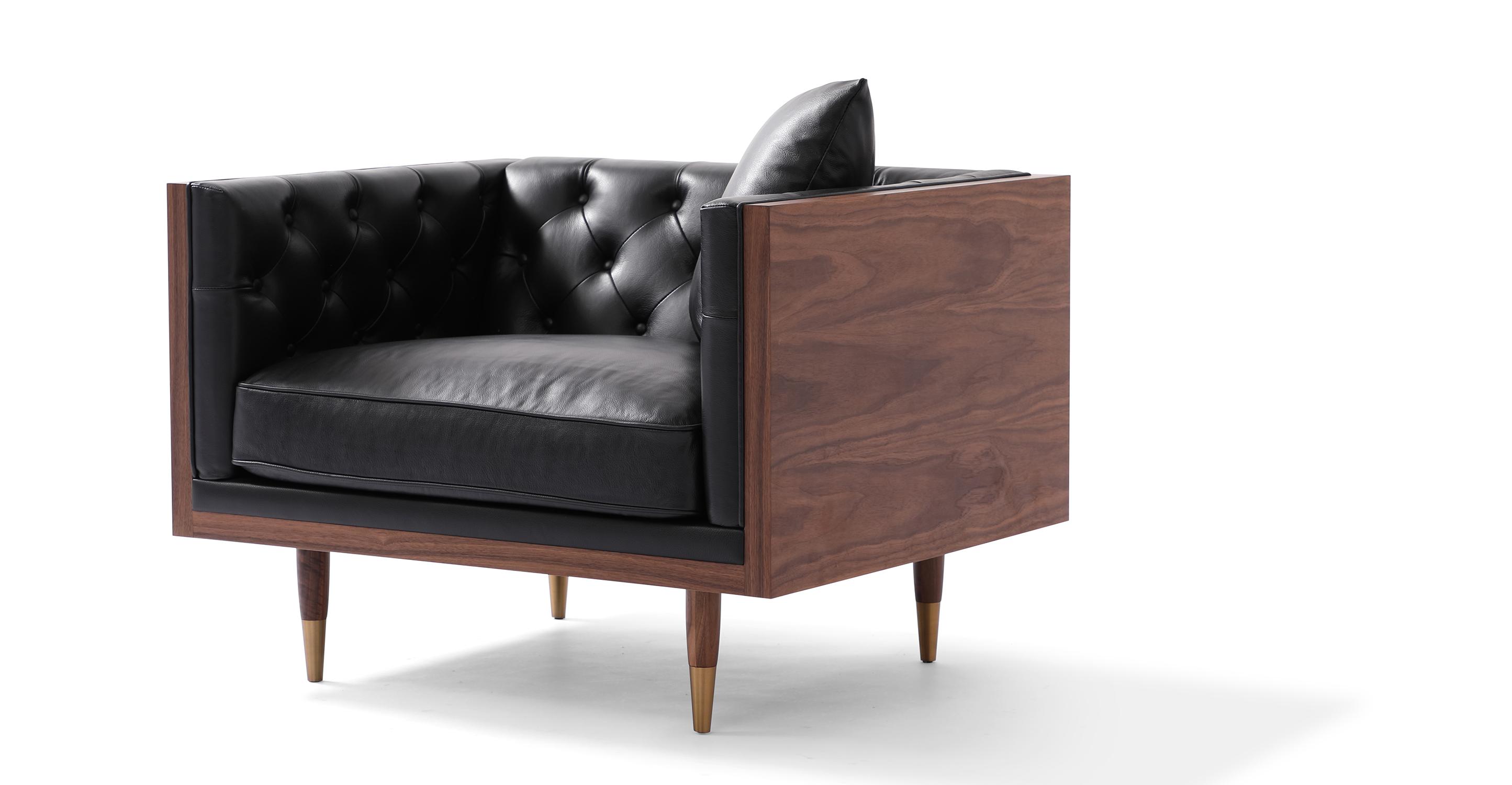 """Woodrow Neo 39"""" Leather Chair, Walnut/Black Aniline"""