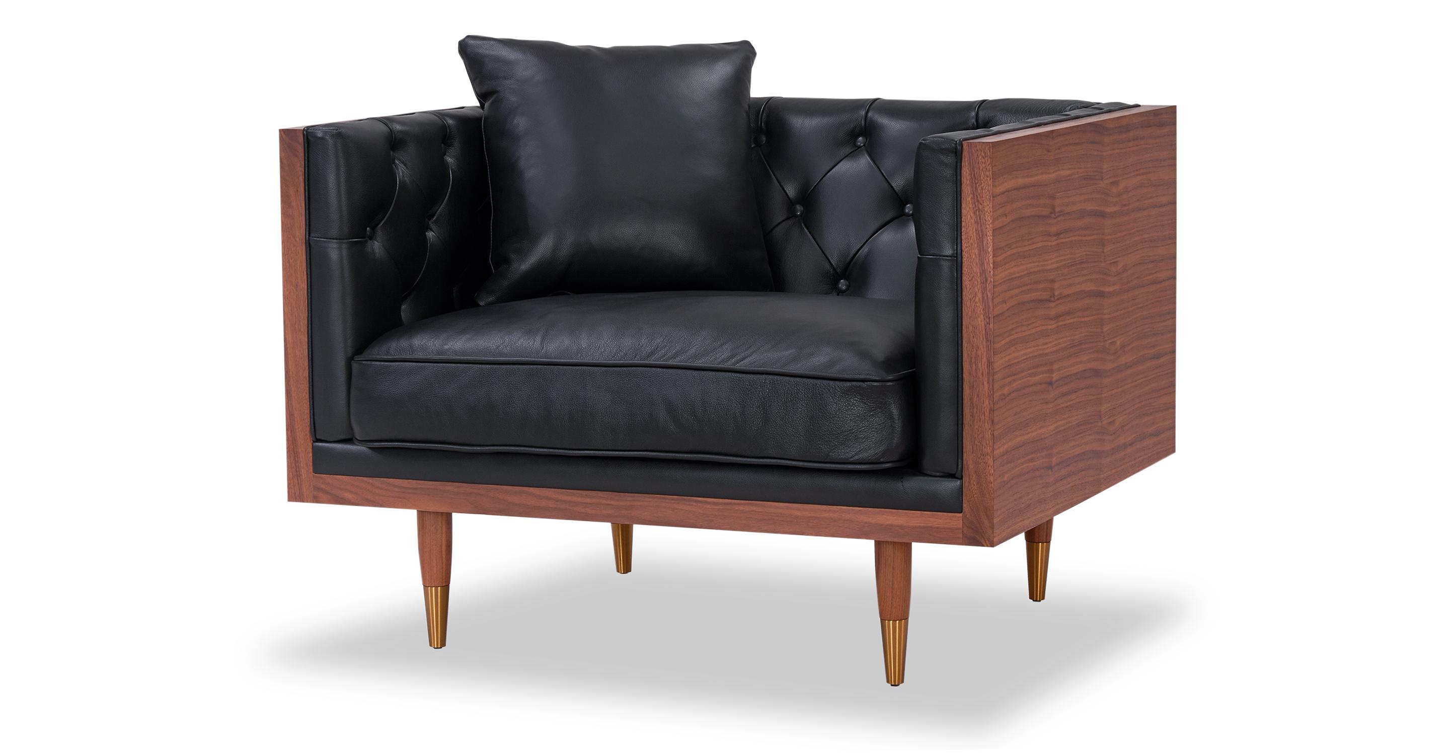 Woodrow Neo Chair, Walnut/Black Aniline