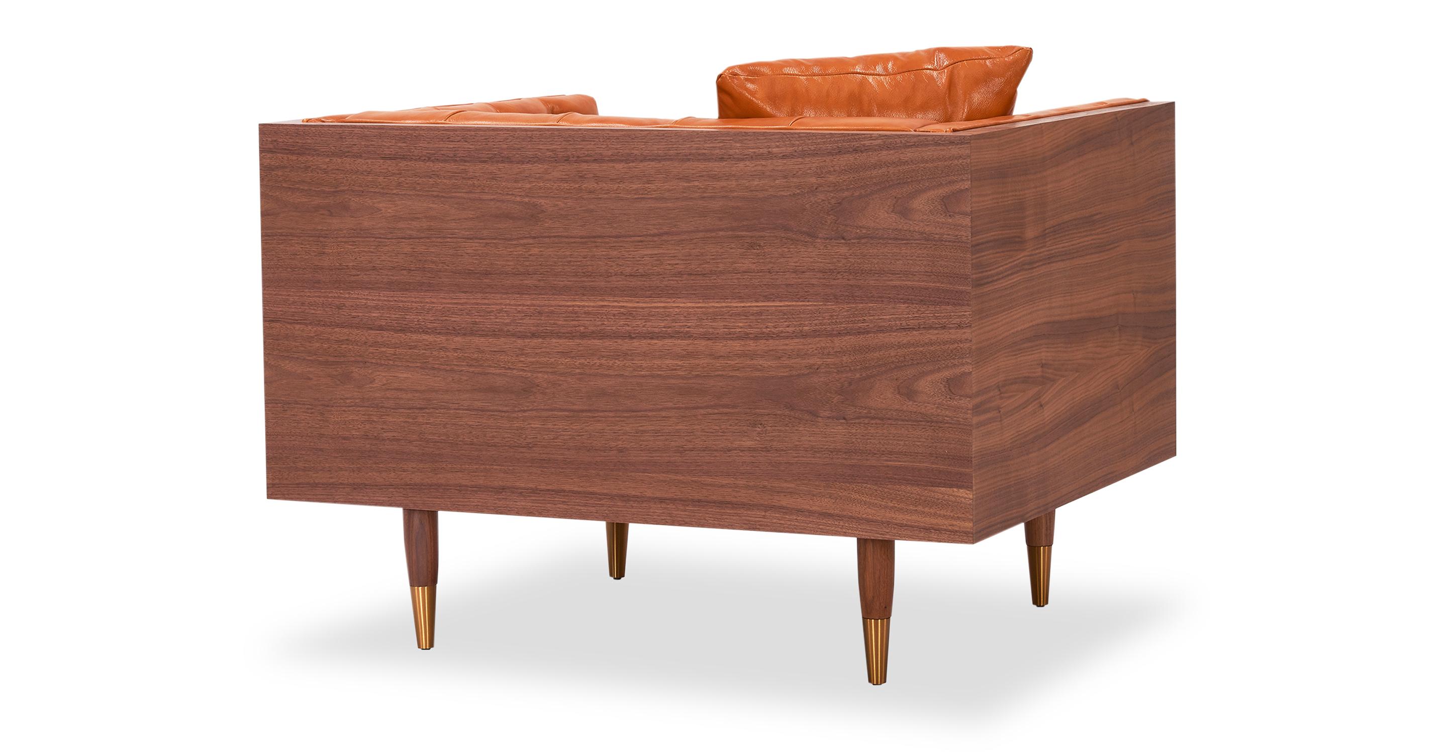 """Woodrow Neo 39"""" Leather Chair, Walnut/Tan Aniline"""