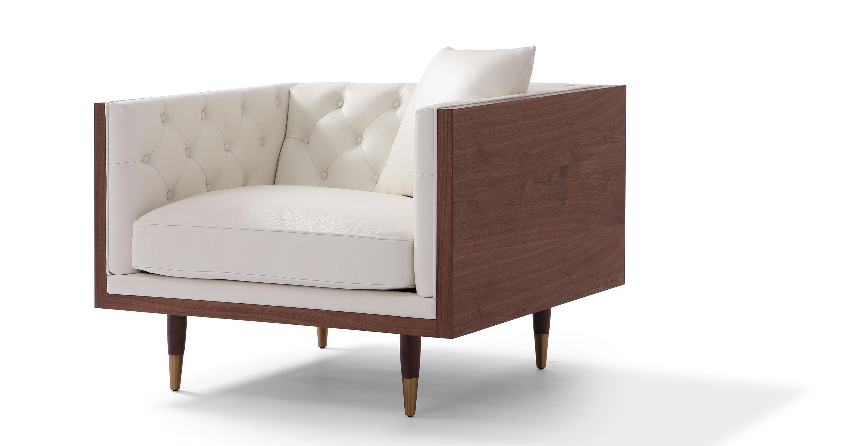 """Woodrow Neo 39"""" Leather Chair, Walnut/White Aniline"""