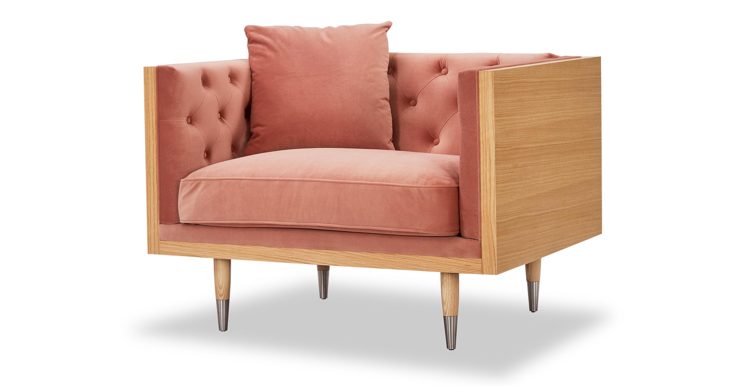 "Woodrow Neo 39"" Fabric Chair, Ash/Blush Velvet"