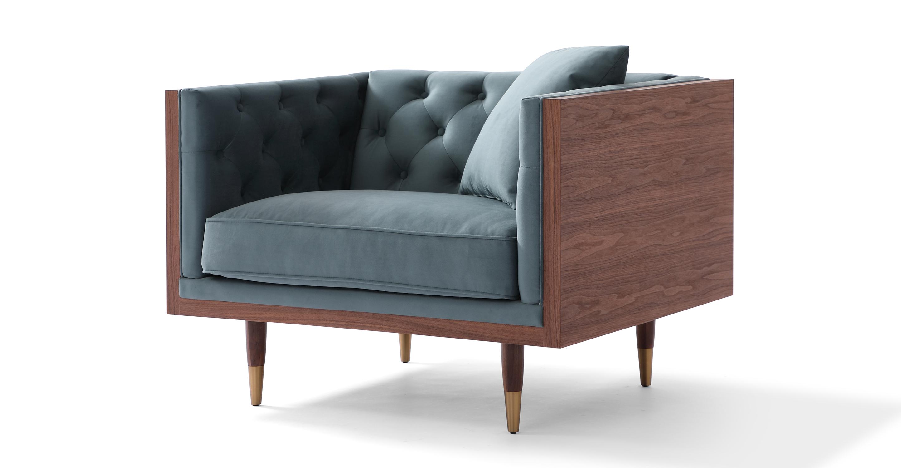 "Woodrow Neo 39"" Fabric Chair, Walnut/Neptune Velvet"