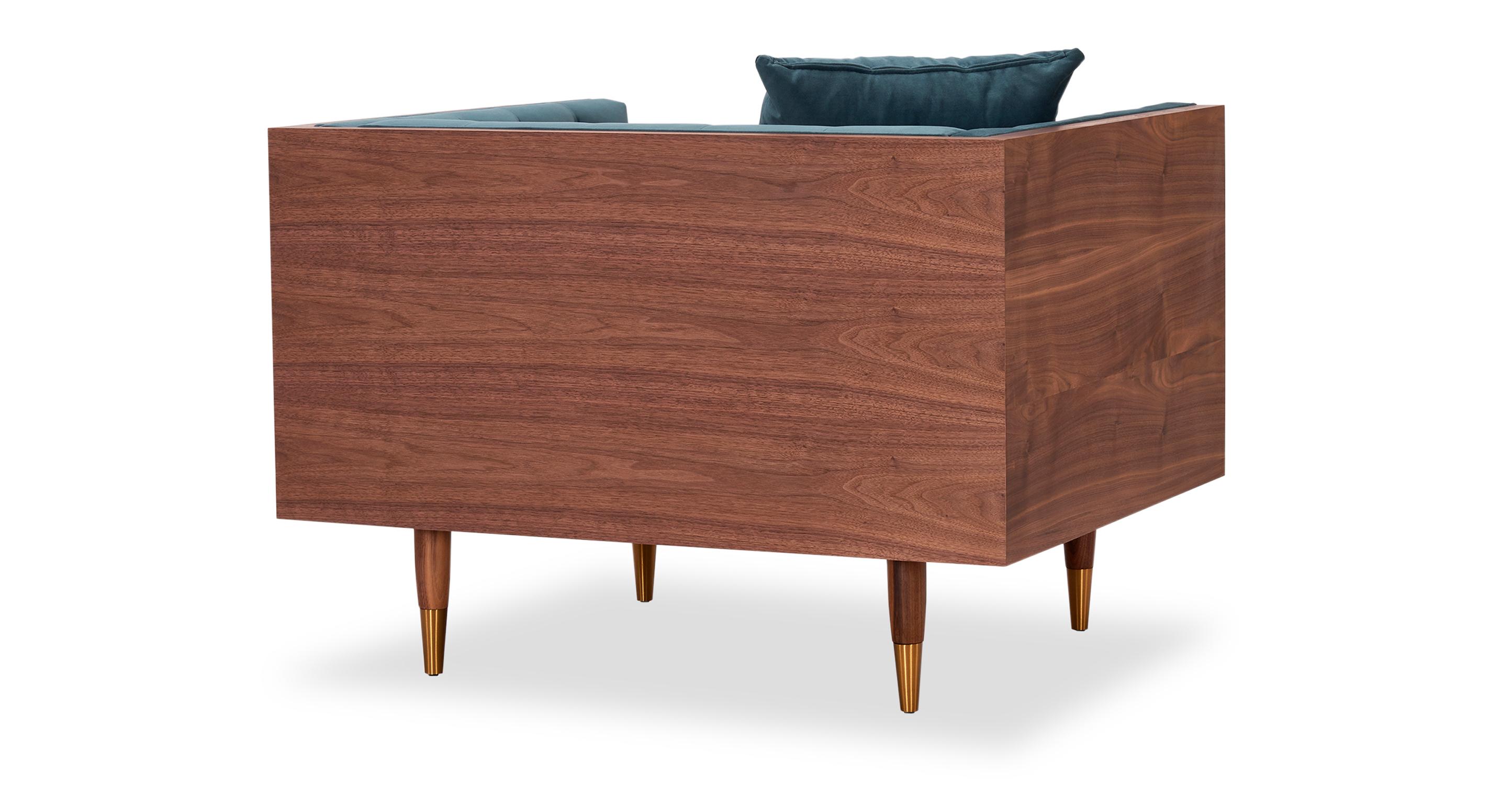 Woodrow Neo Chair, Walnut/Neptune Velvet