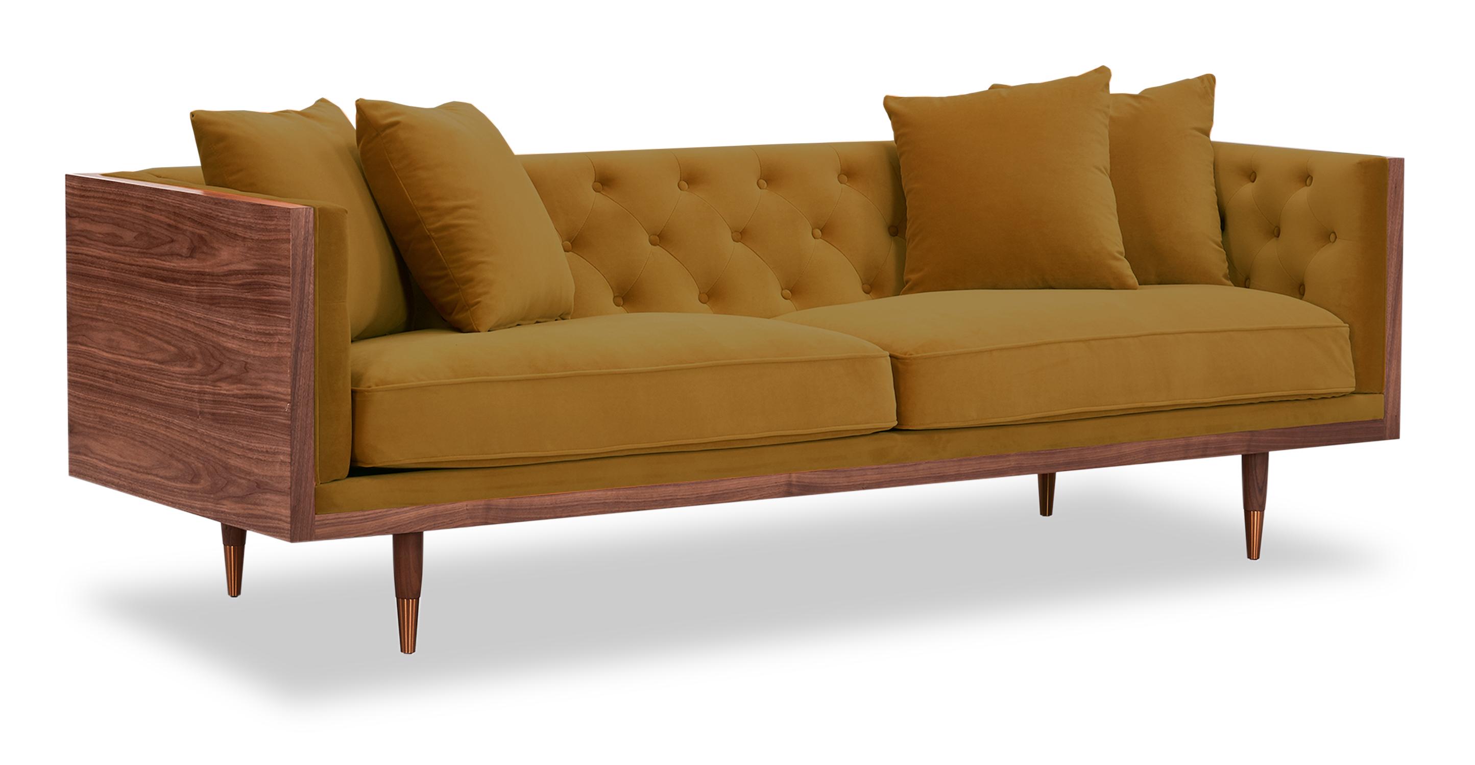 "Woodrow Neo 87"" Fabric Sofa, Walnut/Golden Rod Velvet"