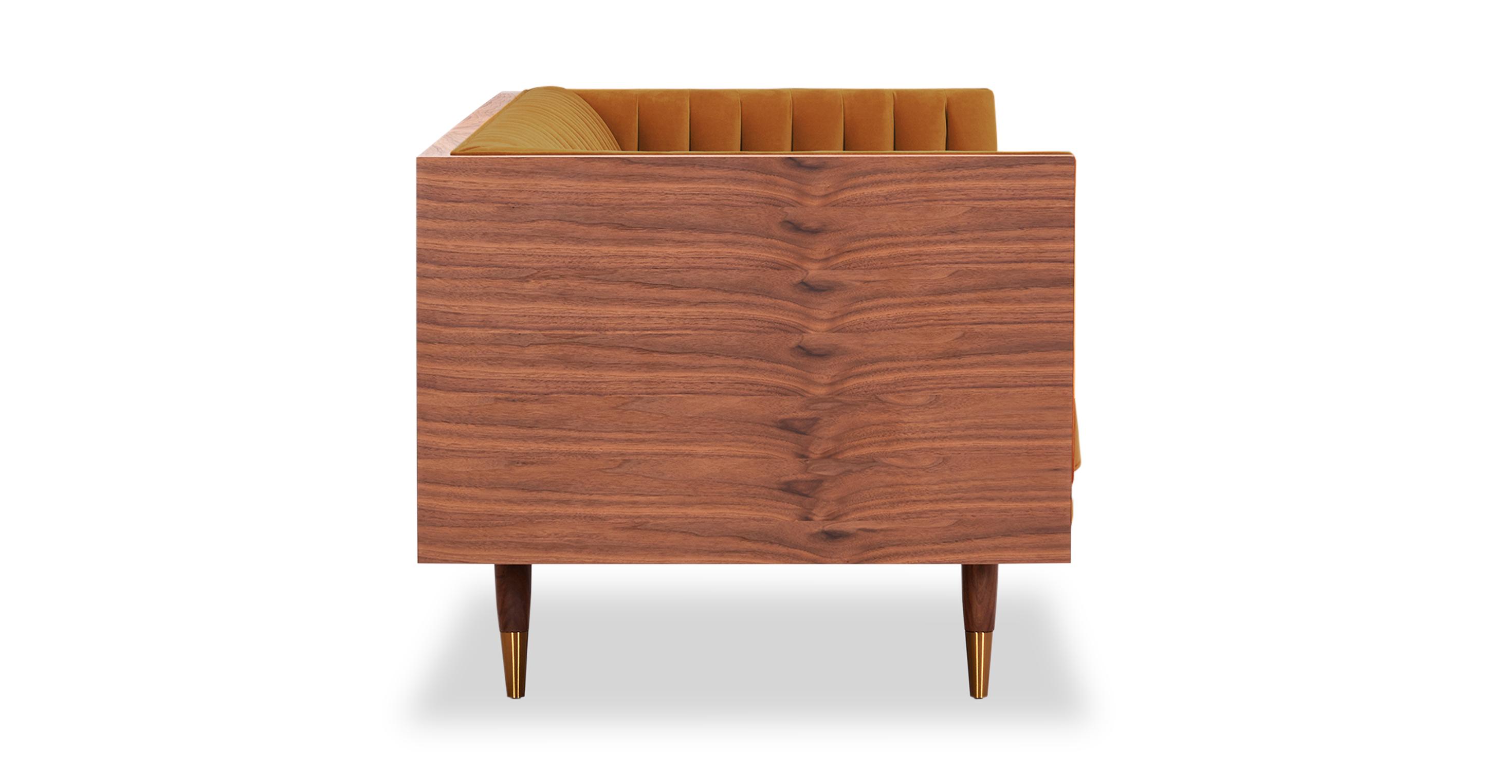 "Woodrow Linea 87"" Fabric Sofa, Walnut/Bonfire Velvet"