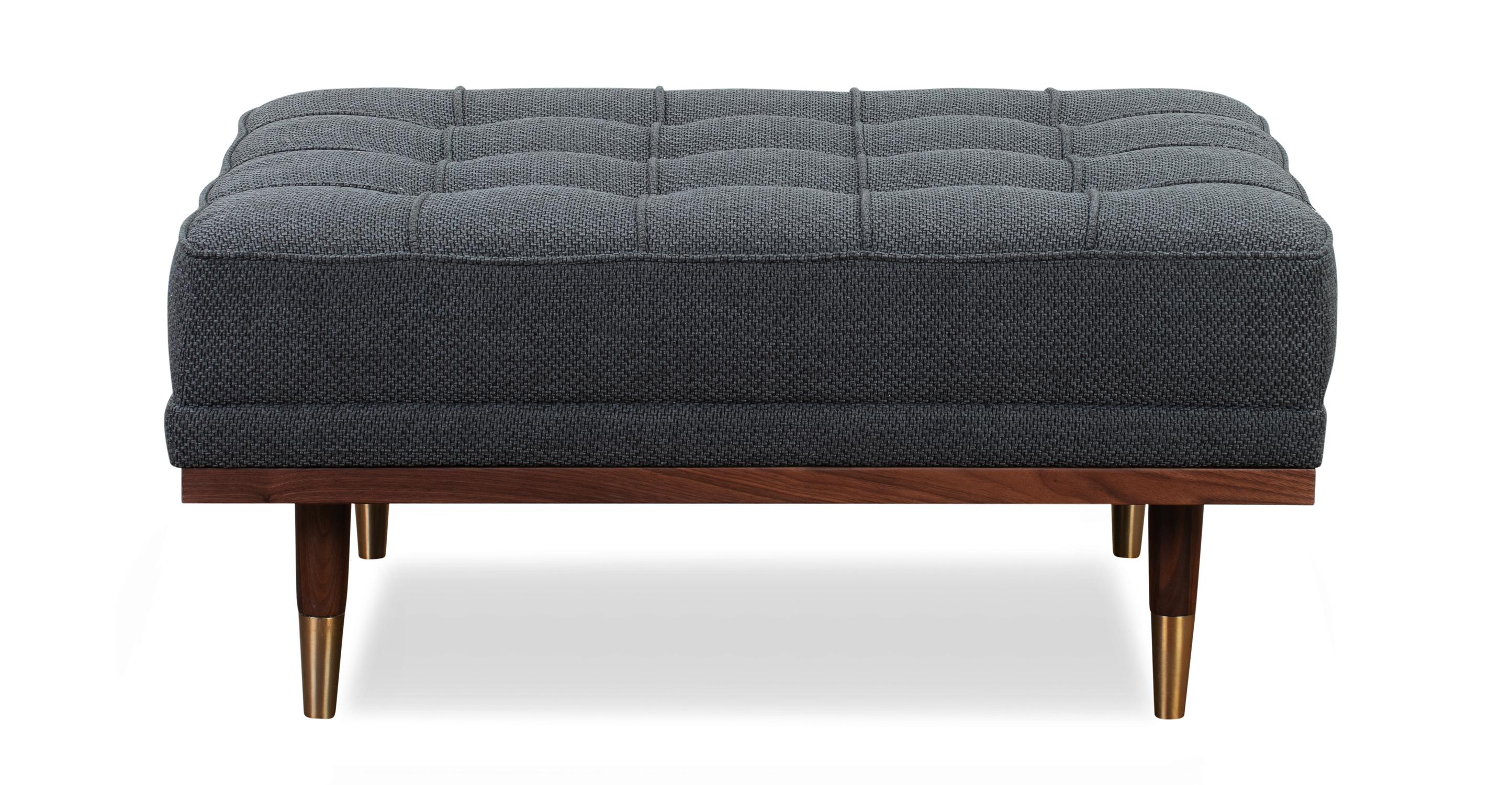"""Woodrow 37"""" Box Fabric Ottoman, Walnut/Niemeyer"""
