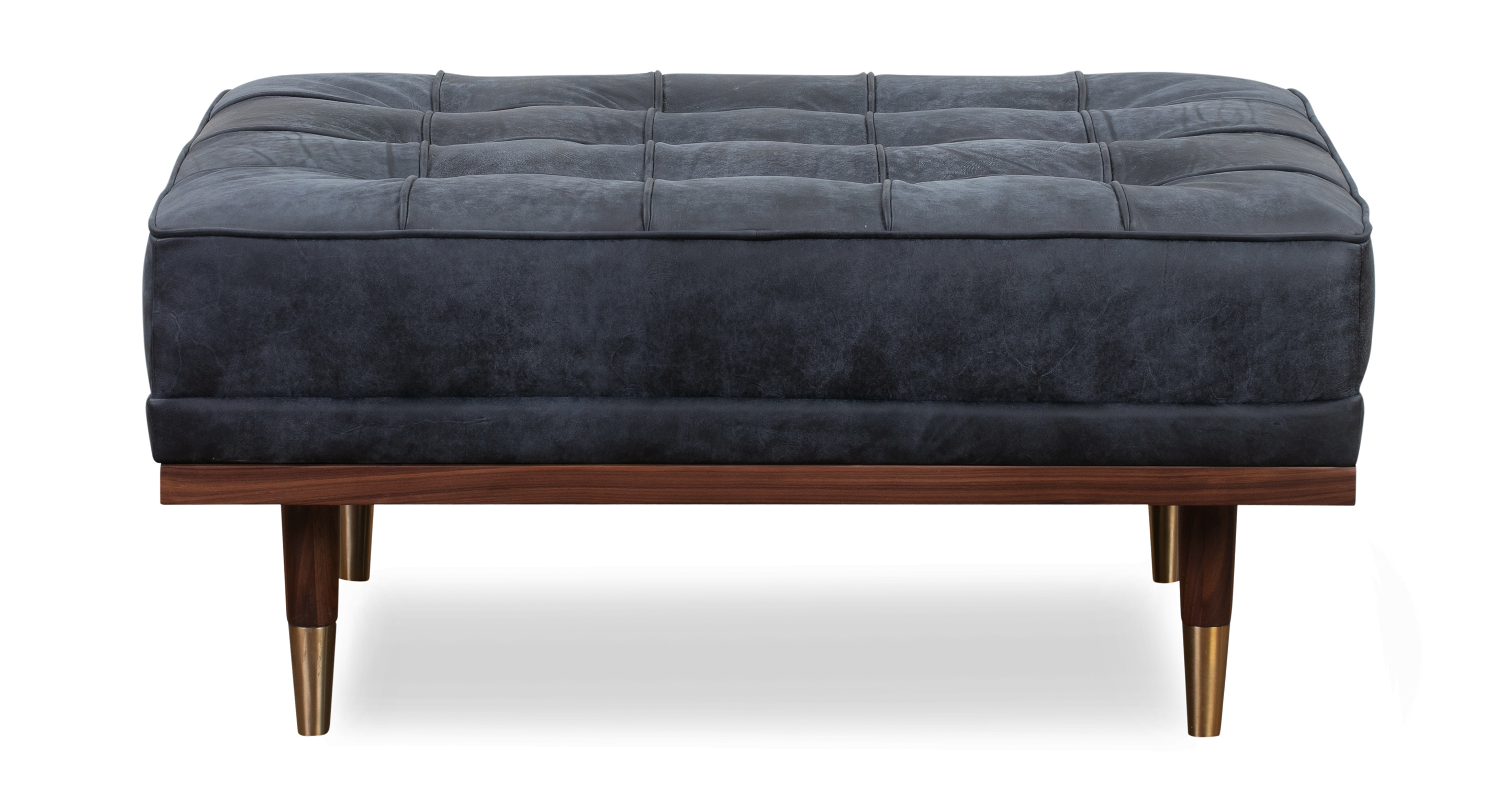 "Woodrow 37"" Box Leather Ottoman, Walnut/Night"