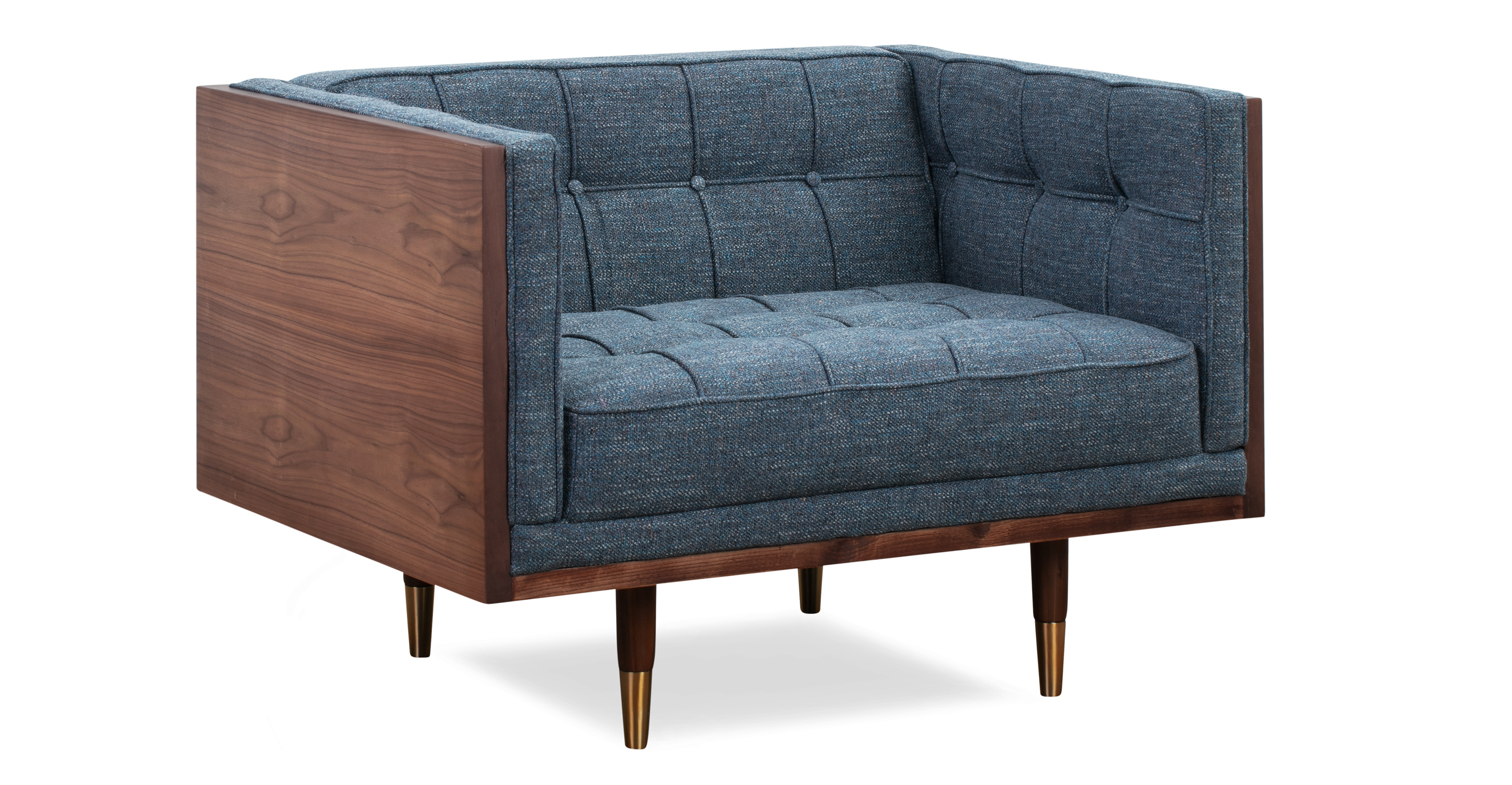 Woodrow Box Fabric Chair, Walnut/Jagar