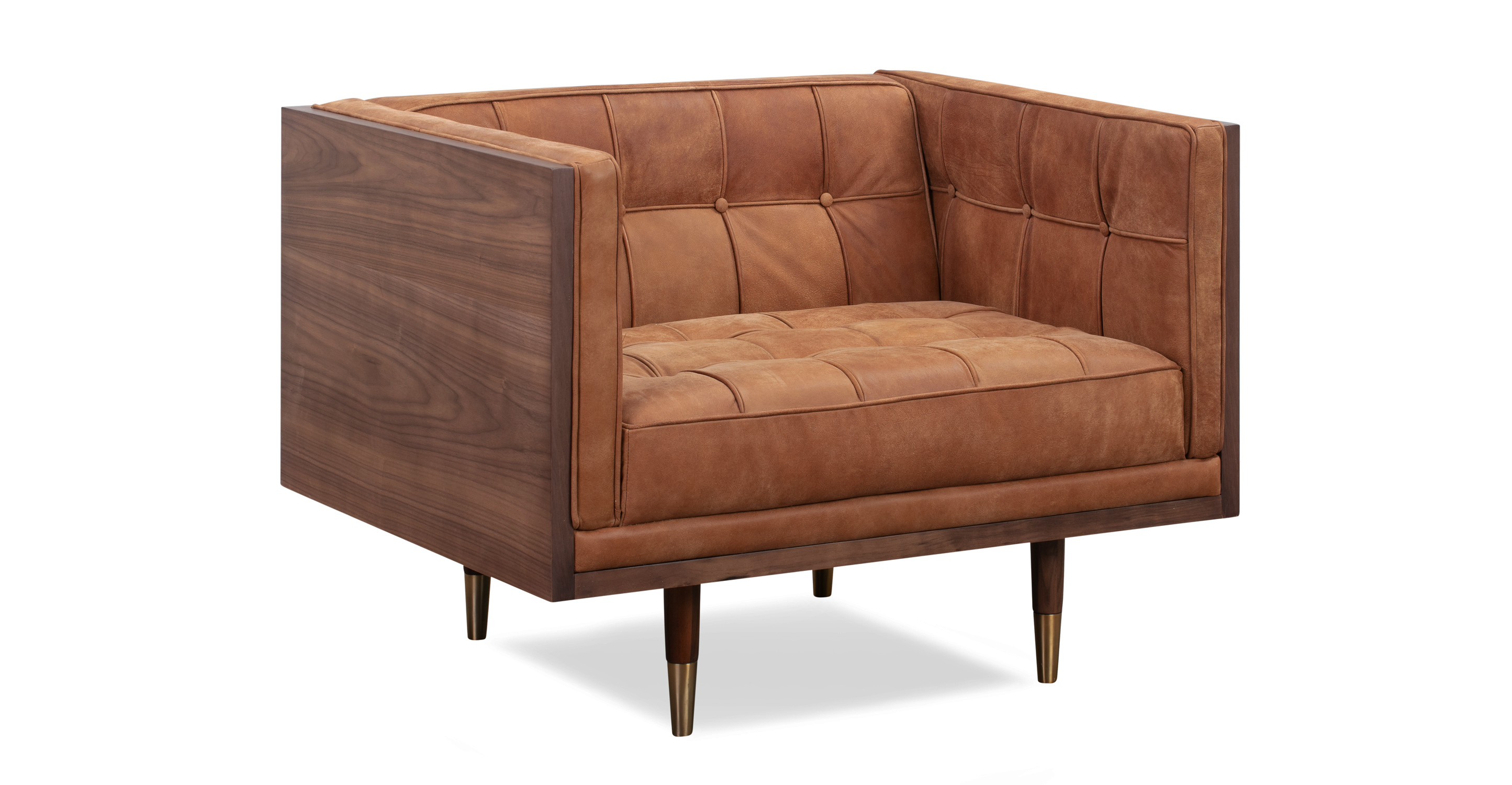 Woodrow Box Leather Chair, Walnut/Cognac