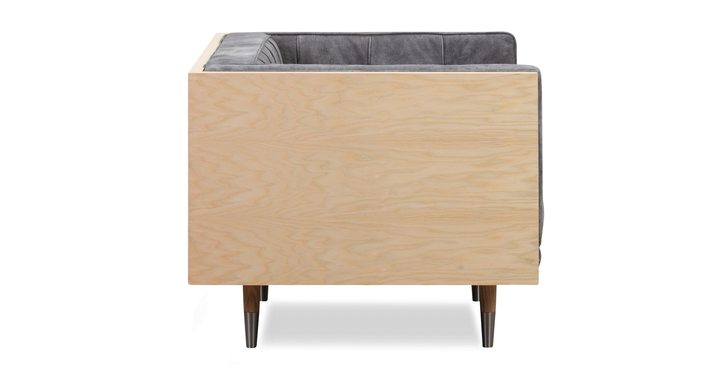Woodrow Box Chair, Ash/Elefante Full Grain Aniline
