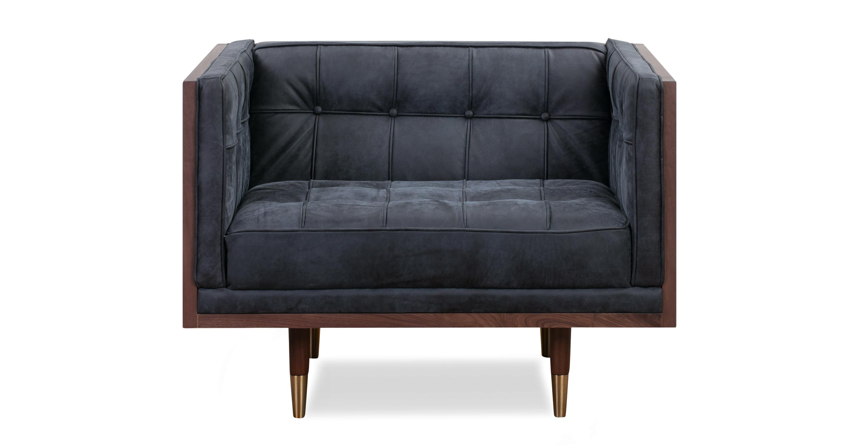Woodrow Box Chair, Walnut/Night Full Grain Aniline