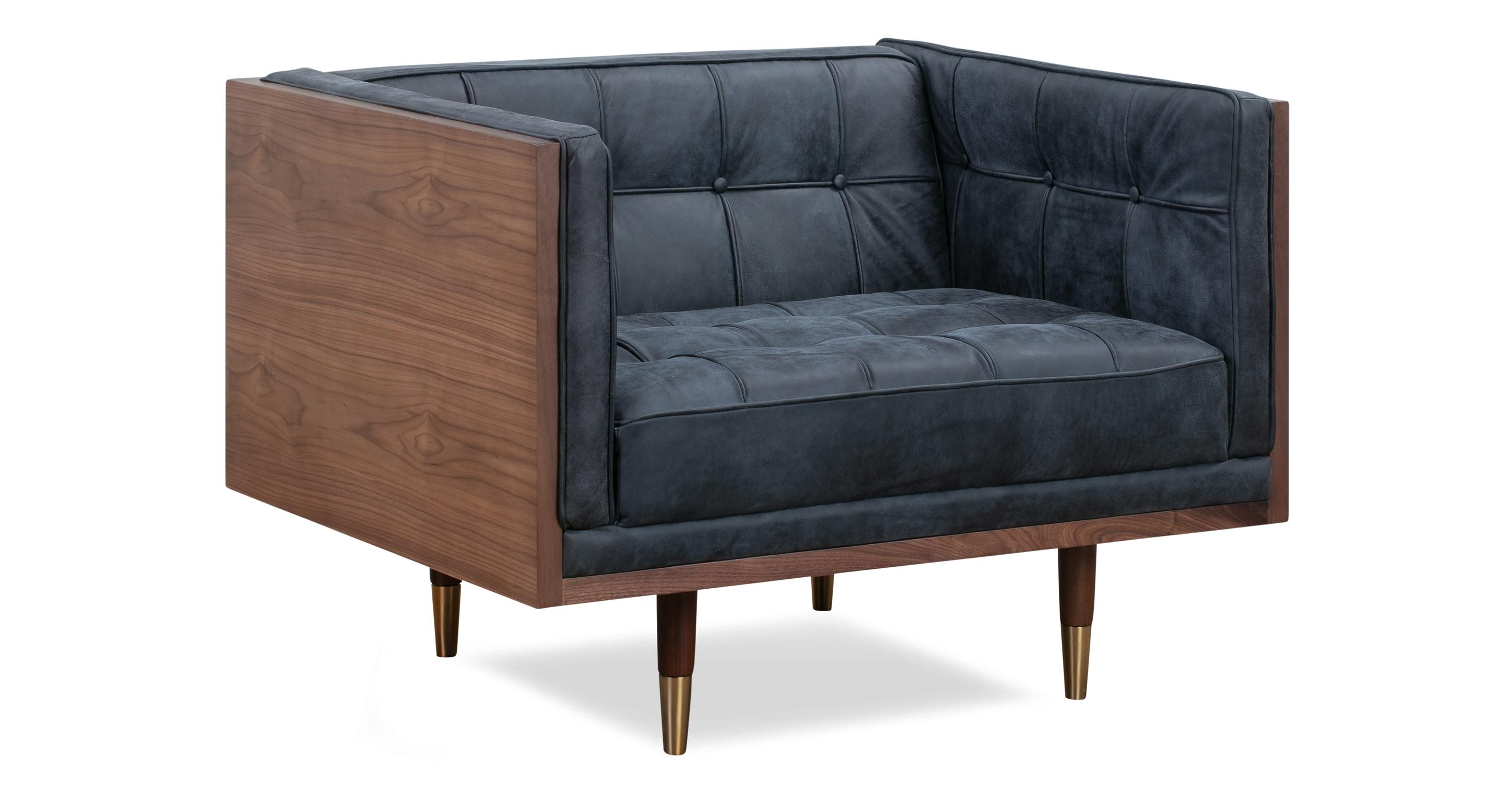 Woodrow Box Leather Chair, Walnut/Night