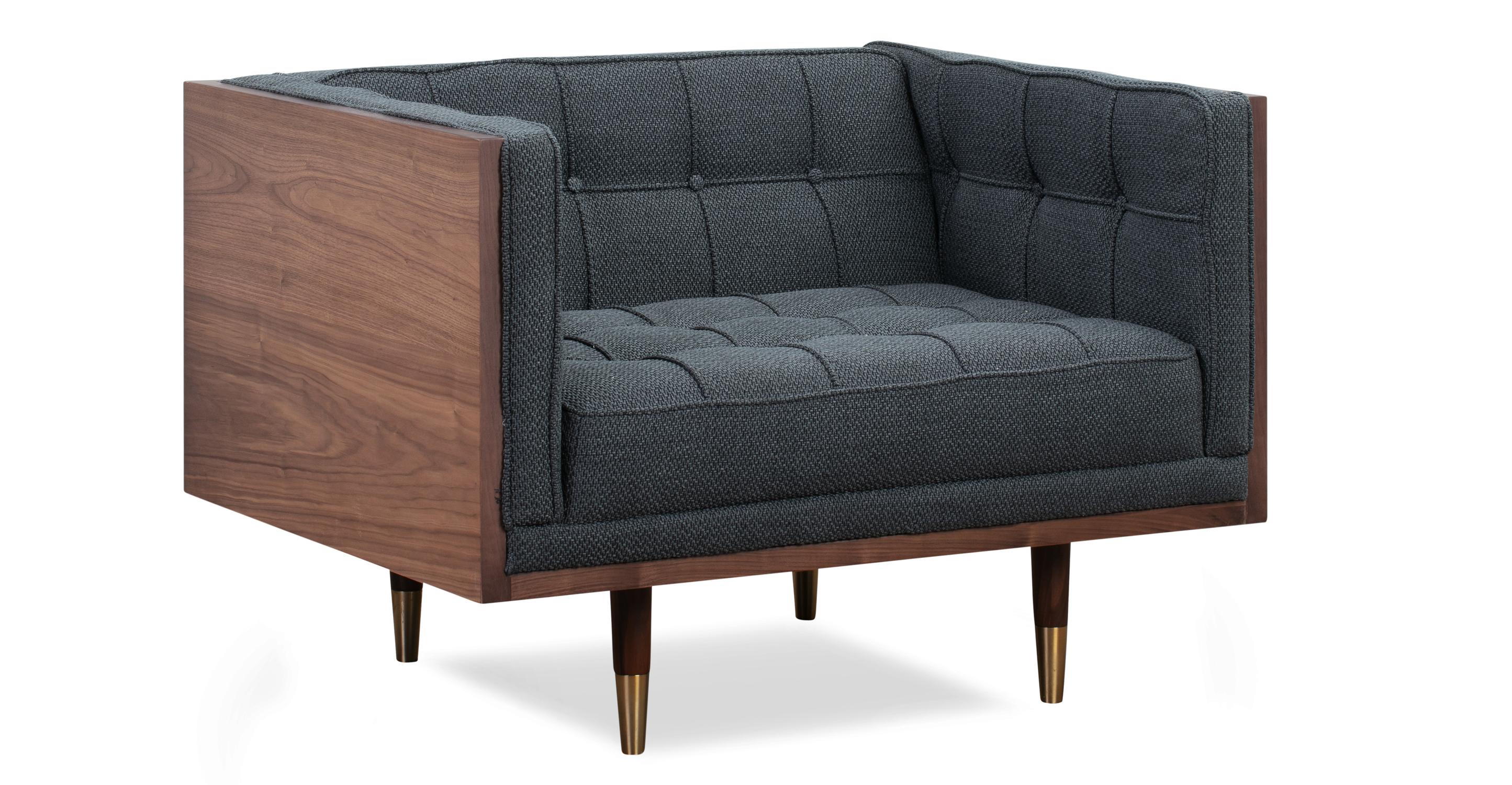 Woodrow Box Fabric Chair, Walnut/Niemeyer