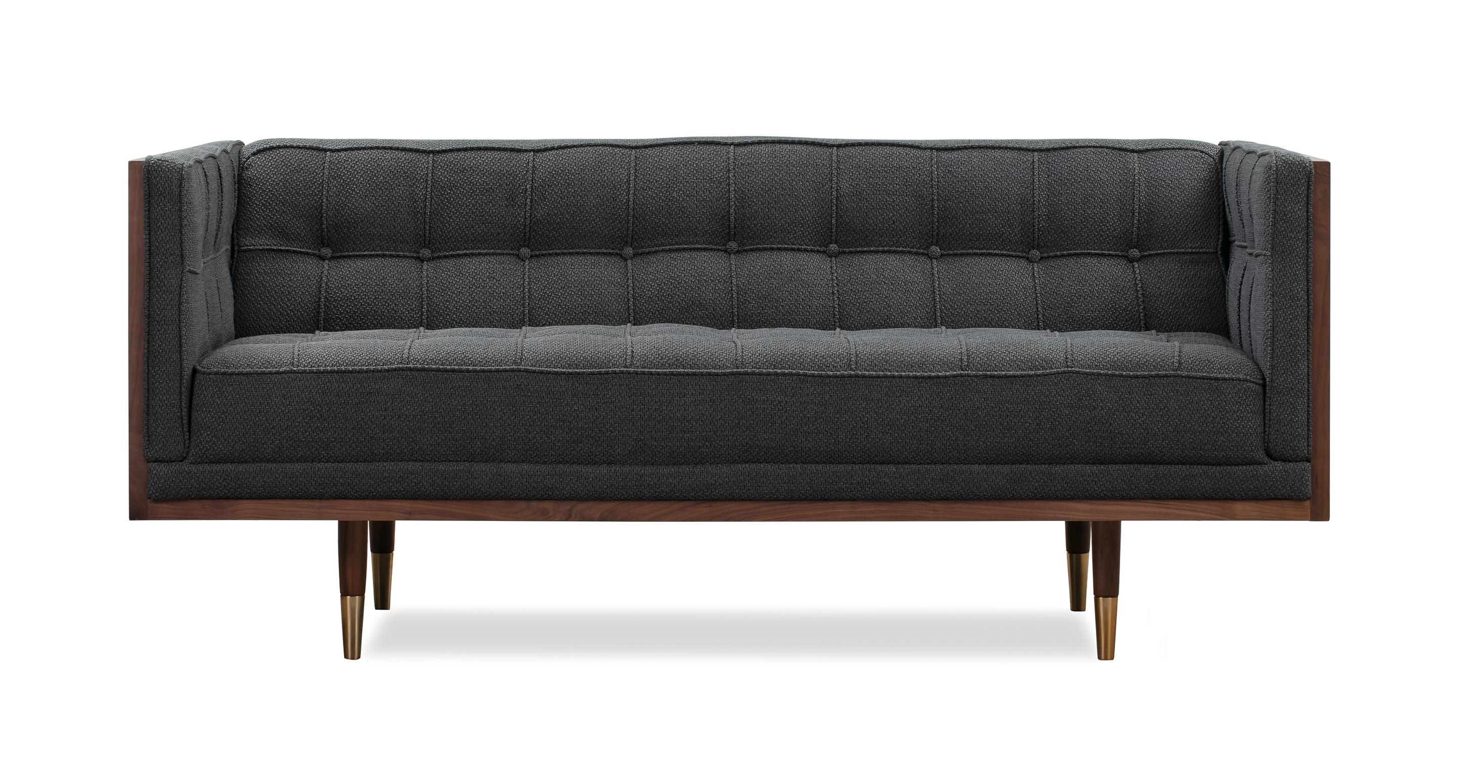 """Woodrow Box 71"""" Fabric Sofa, Walnut/Niemeyer"""