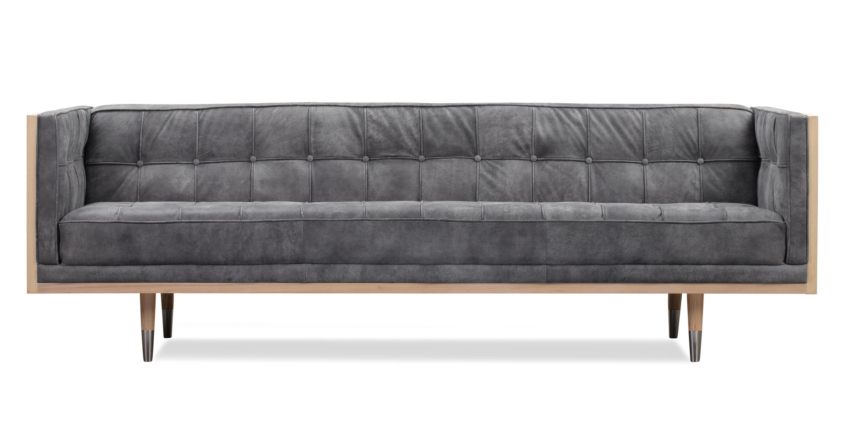 "Woodrow Box 87"" Leather Sofa, Ash/Elefante"