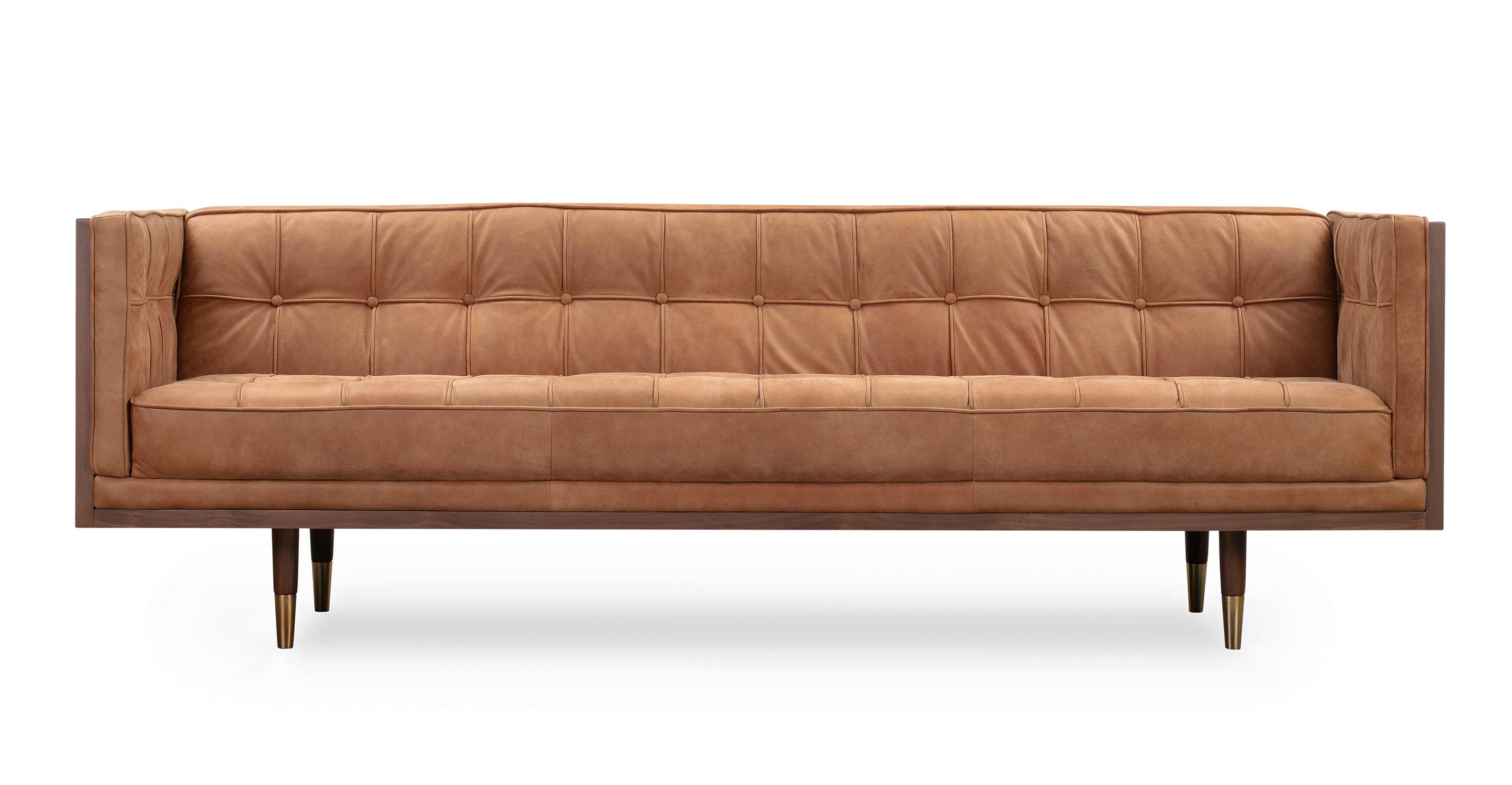 "Woodrow Box 87"" Leather Sofa, Walnut/Cognac"