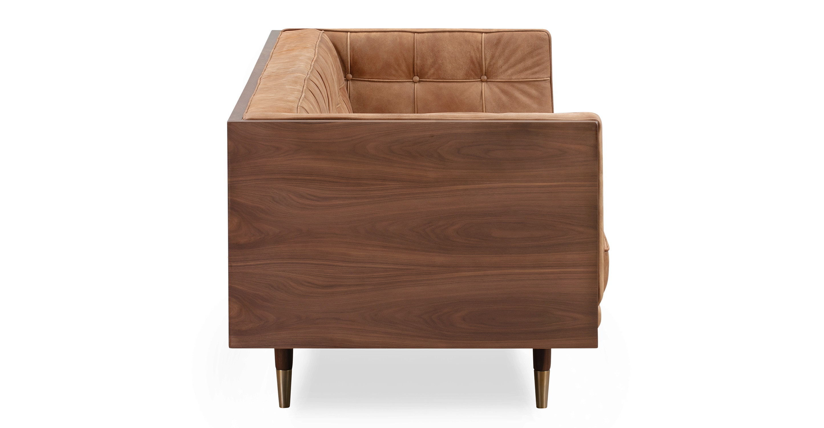 "Woodrow Box 87"" Sofa, Walnut/Cognac Full Grain Aniline"
