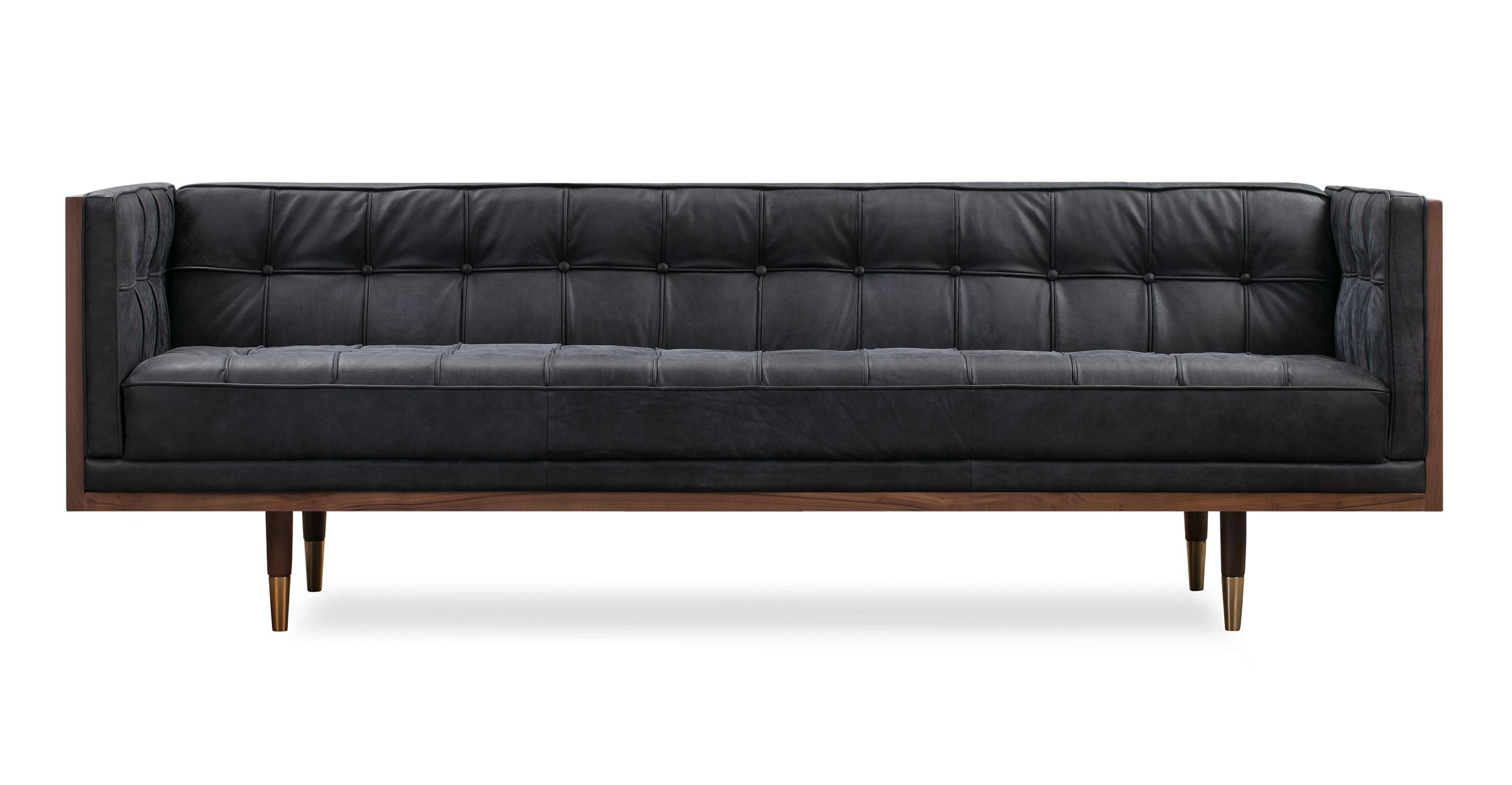 "Woodrow Box 87"" Leather Sofa, Walnut/Night"