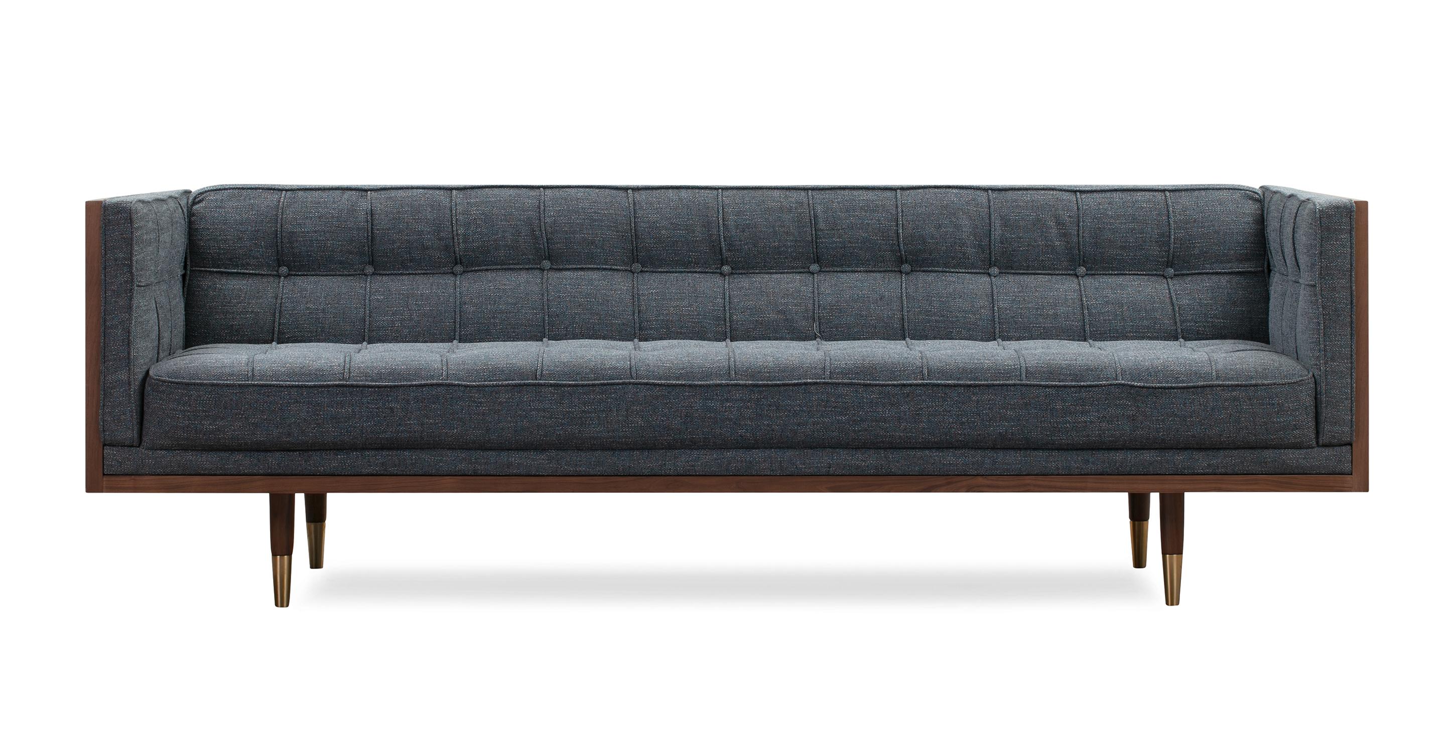 "Woodrow Box 87"" Fabric Sofa, Walnut/Jagar"