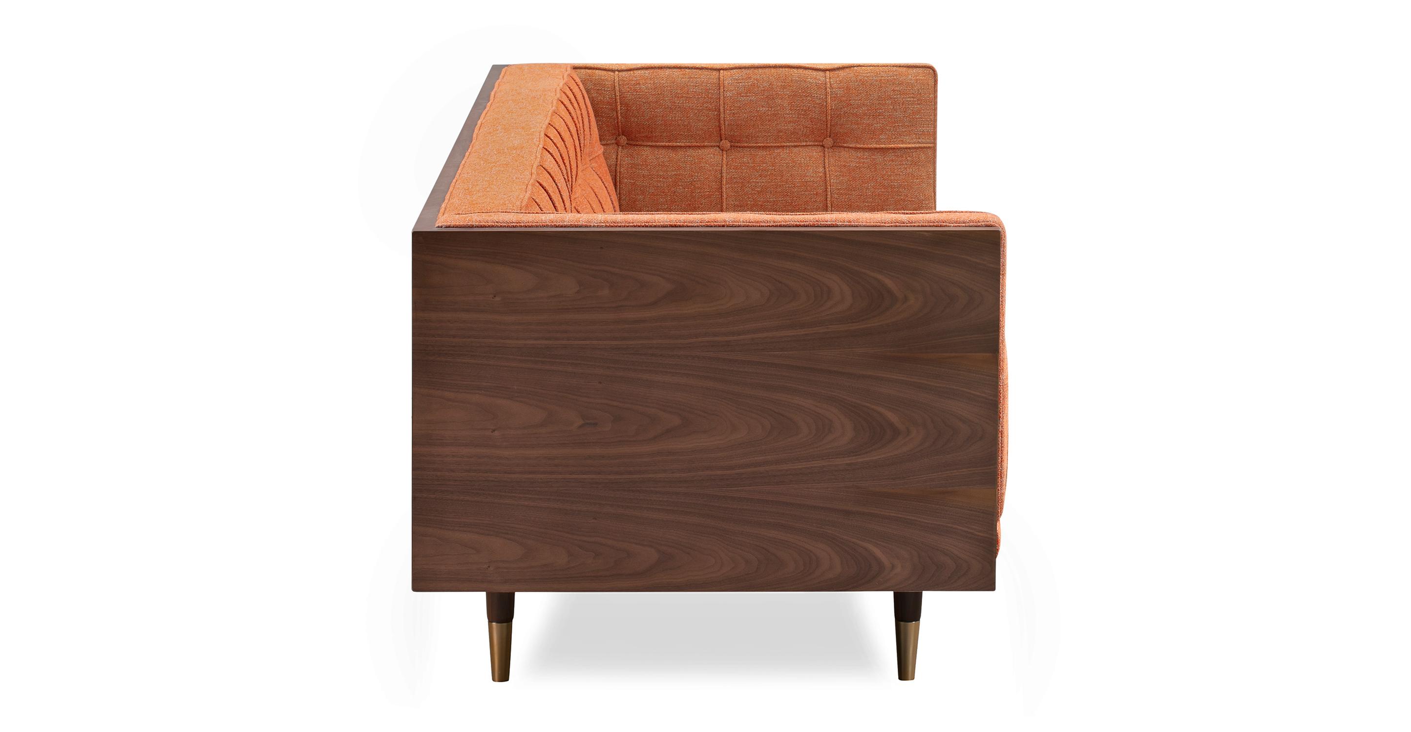 "Woodrow Box 87"" Fabric Sofa, Walnut/Tangerine"