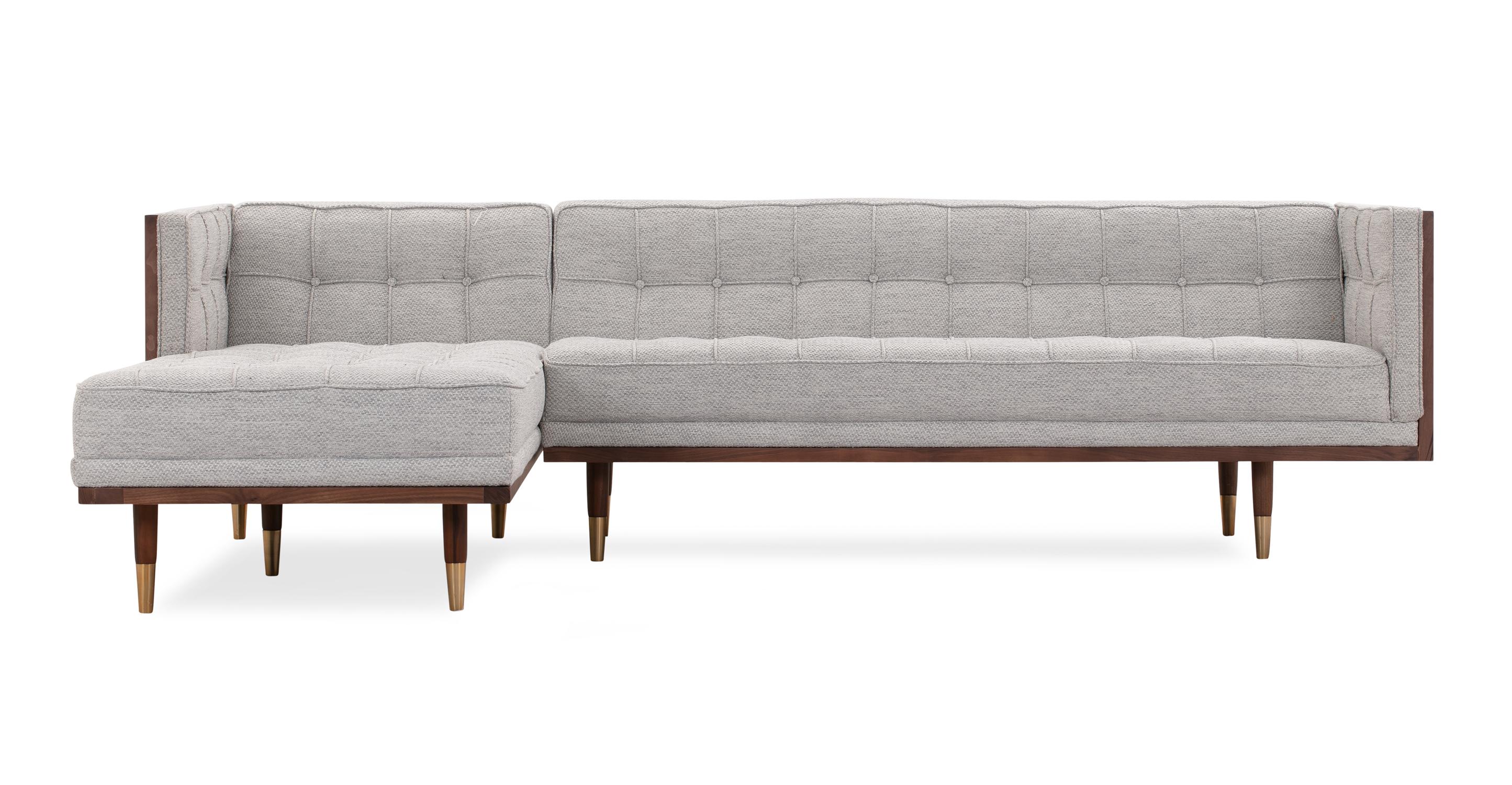 "Woodrow Box 100"" Fabric Sofa Sectional Left, Walnut/Neutra"