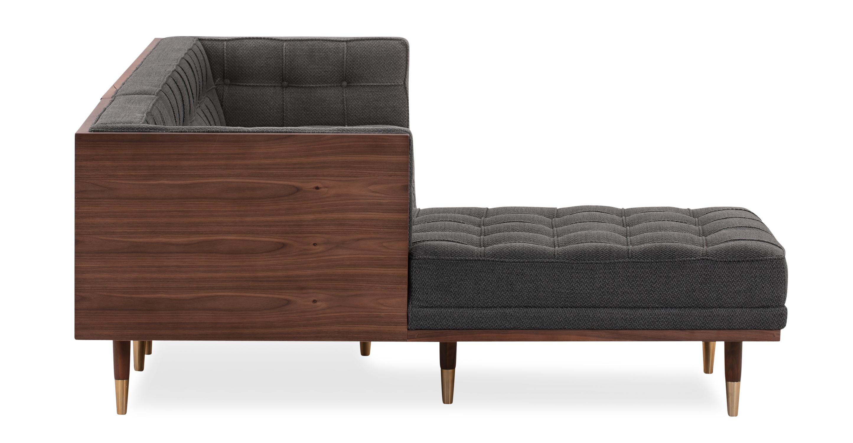 Woodrow Box Sofa Sectional Left, Walnut/Niemeyer