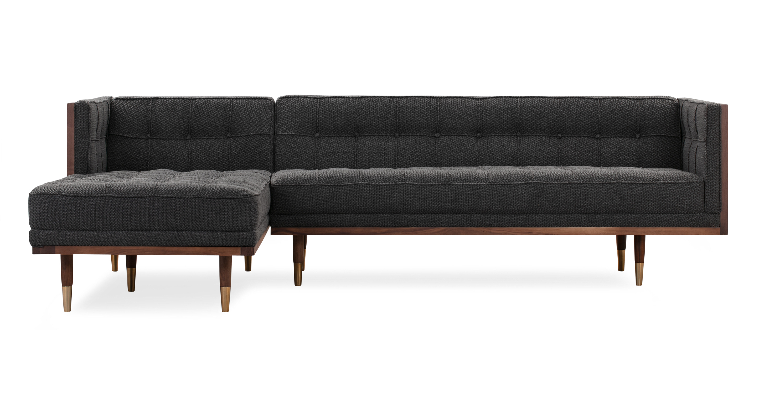 "Woodrow Box 100"" Fabric Sofa Sectional Left, Walnut/Niemeyer"