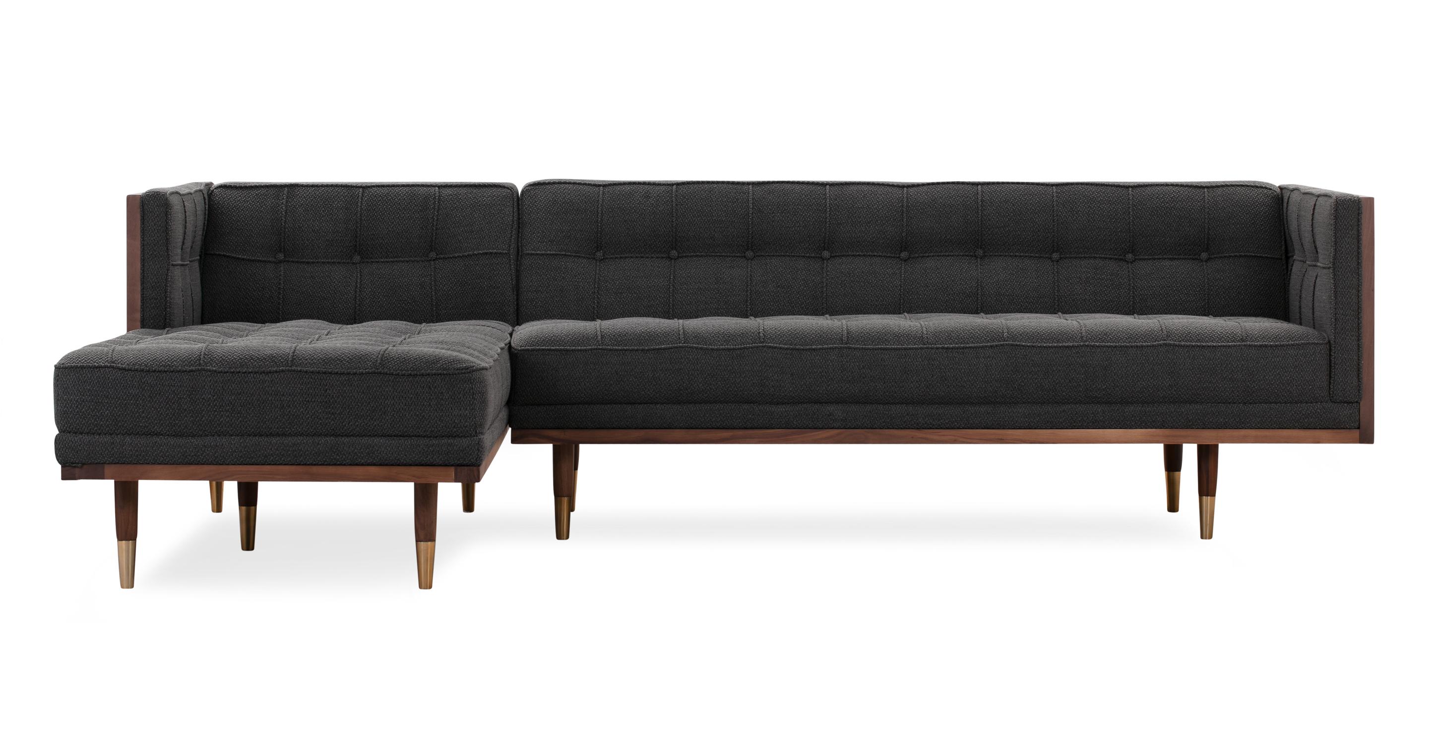 """Woodrow Box 100"""" Fabric Sofa Sectional Left, Walnut/Niemeyer"""