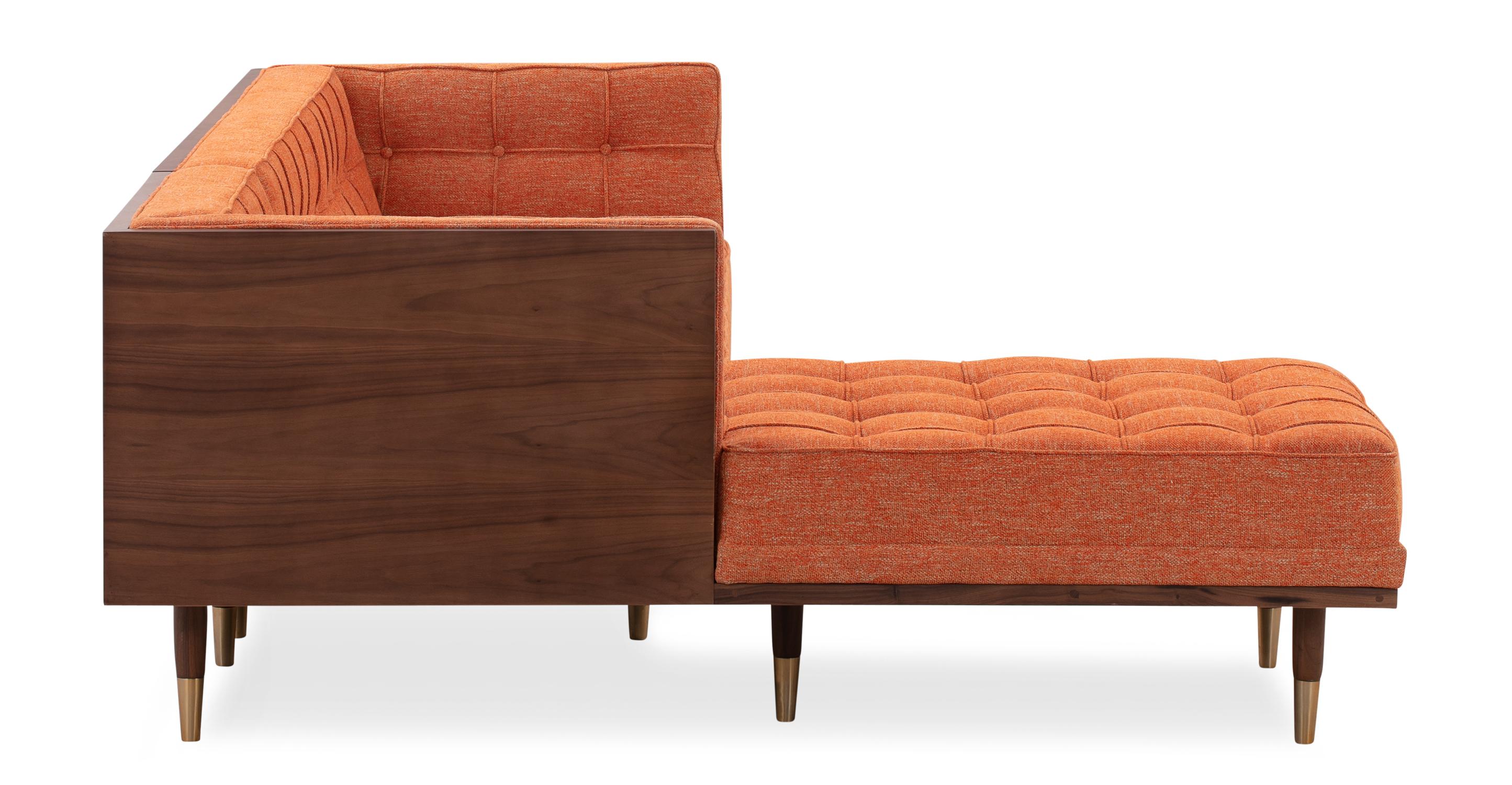 Woodrow Box Sofa Sectional Left, Walnut/Tangerine