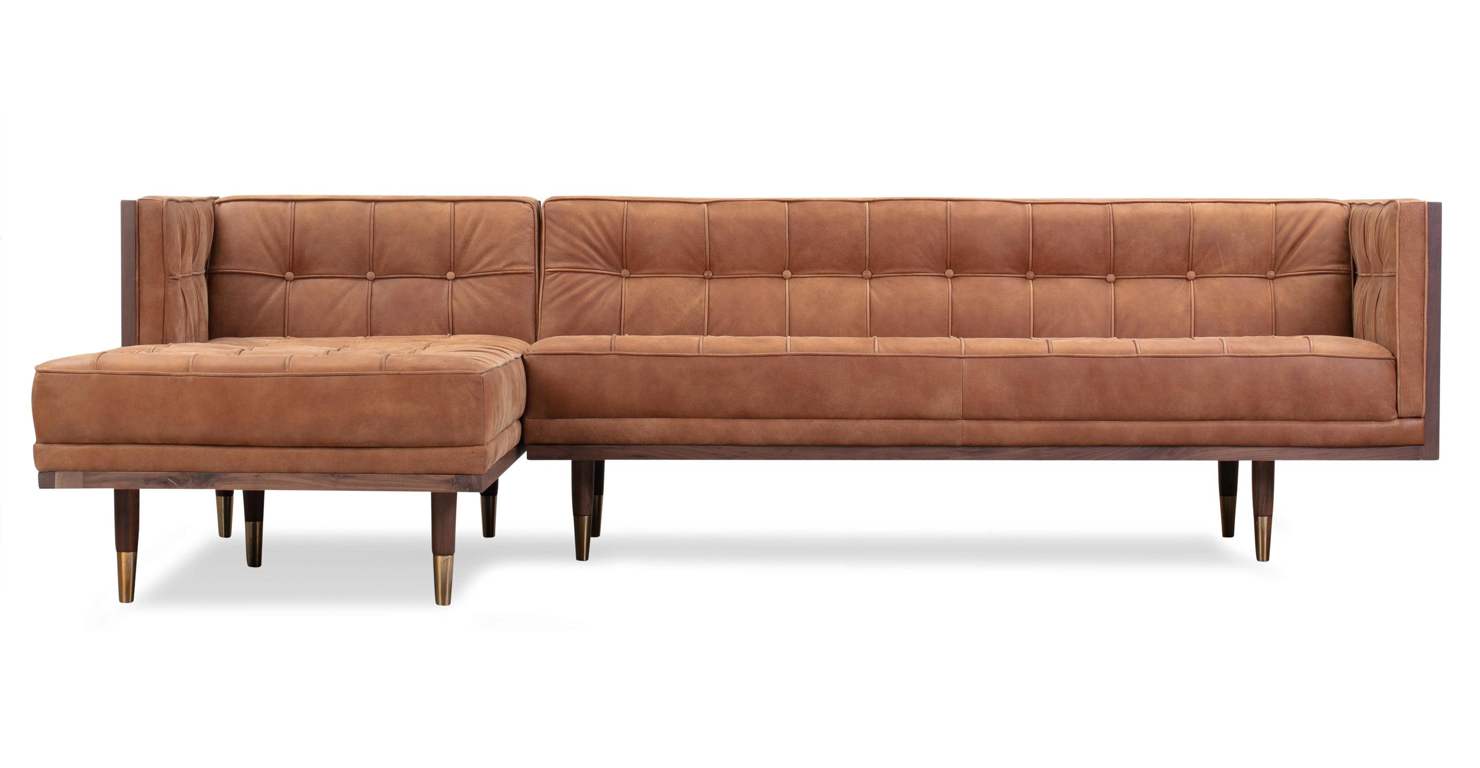 "Woodrow Box 100"" Sofa Sectional Left, Walnut/Cognac"