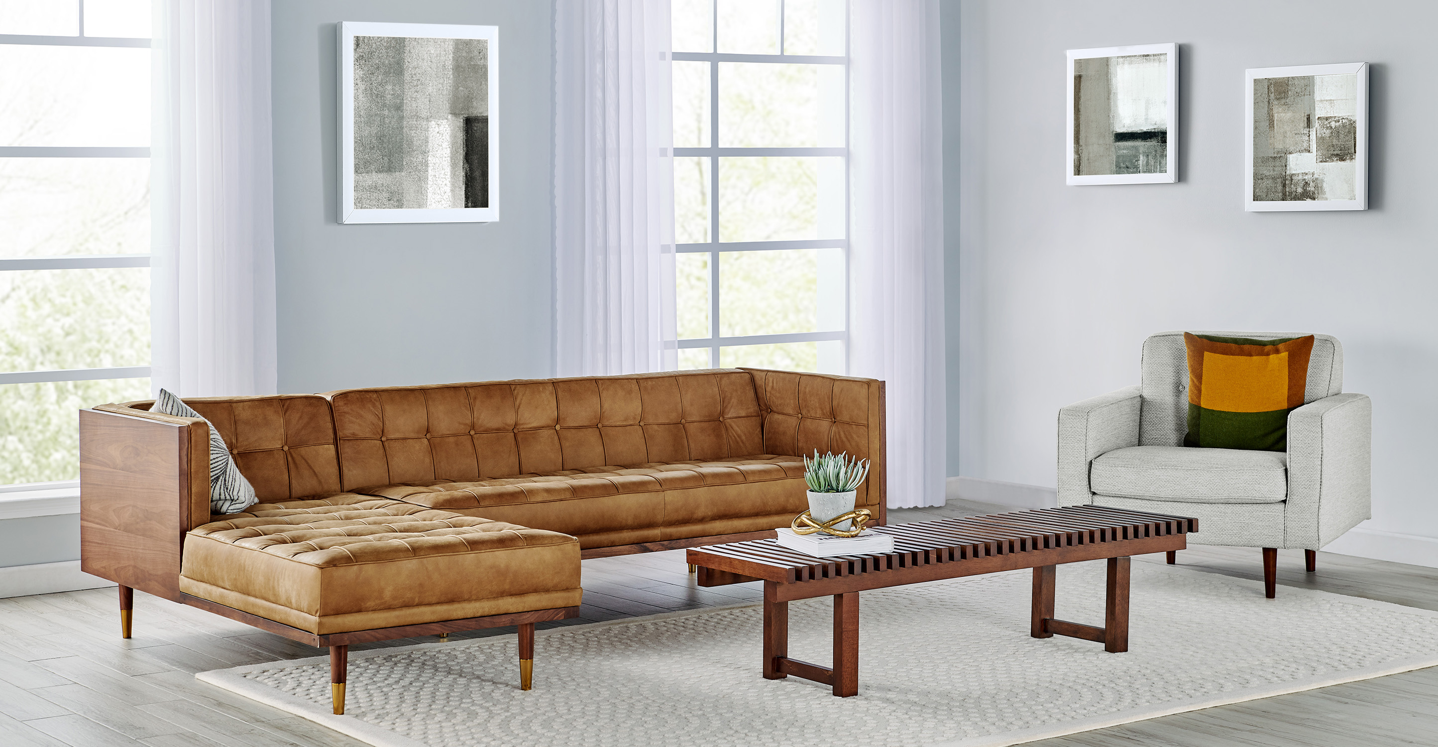 Picture of: Woodrow Box 100 Leather Sofa Sectional Left Walnut Cognac Kardiel