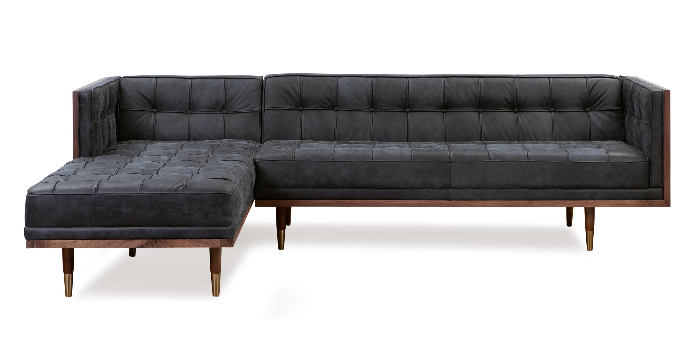 Woodrow Box Sofa Sectional Left, Walnut/Night