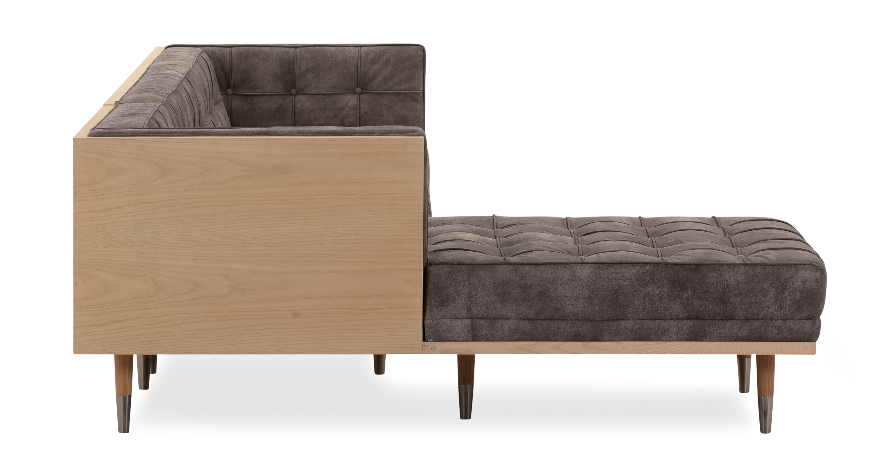 Woodrow Box Sofa Sectional Left, Ash/Elefante Full Grain Aniline