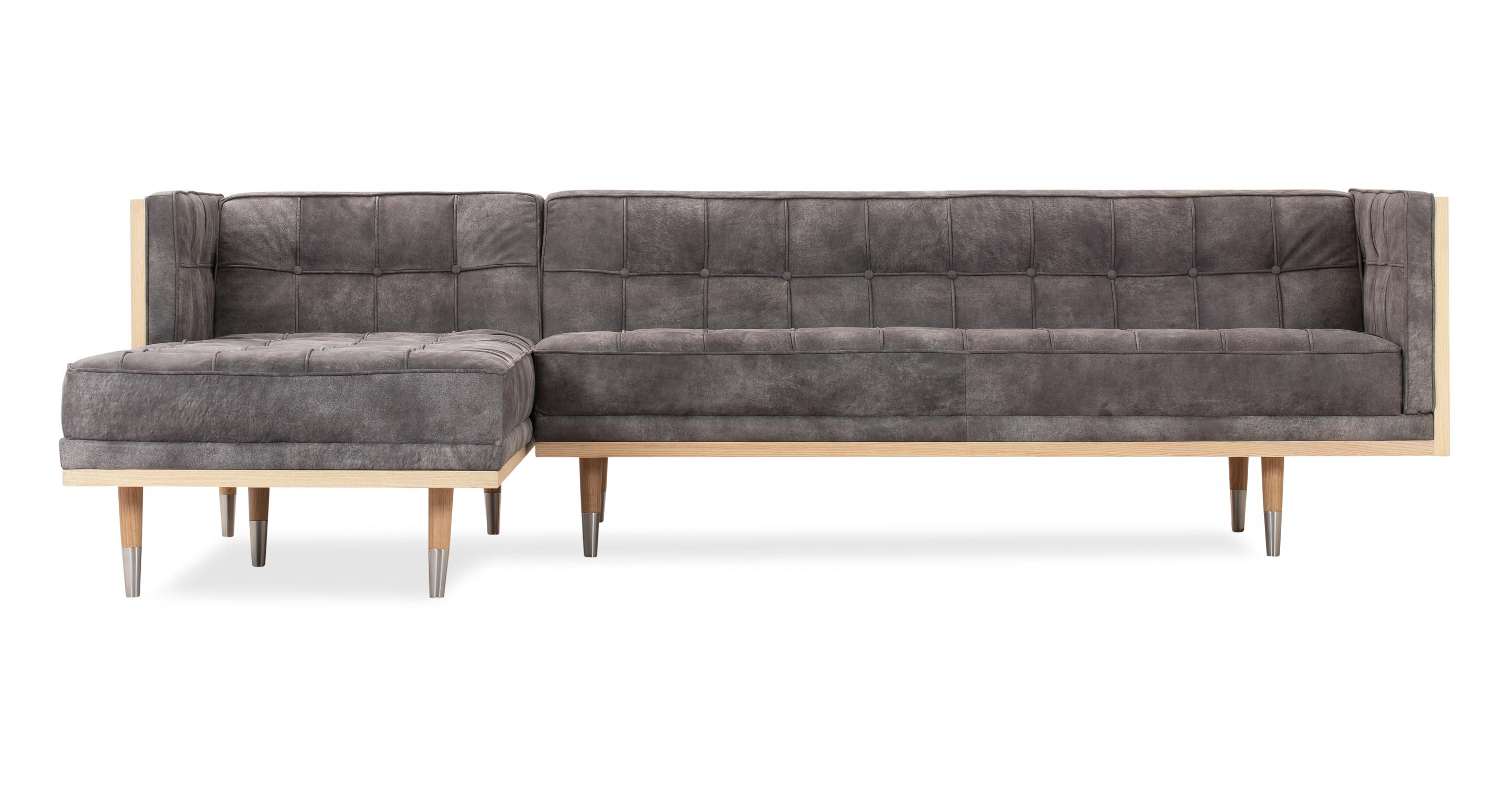 "Woodrow Box 100"" Leather Sofa Sectional Left, Ash/Elefante"