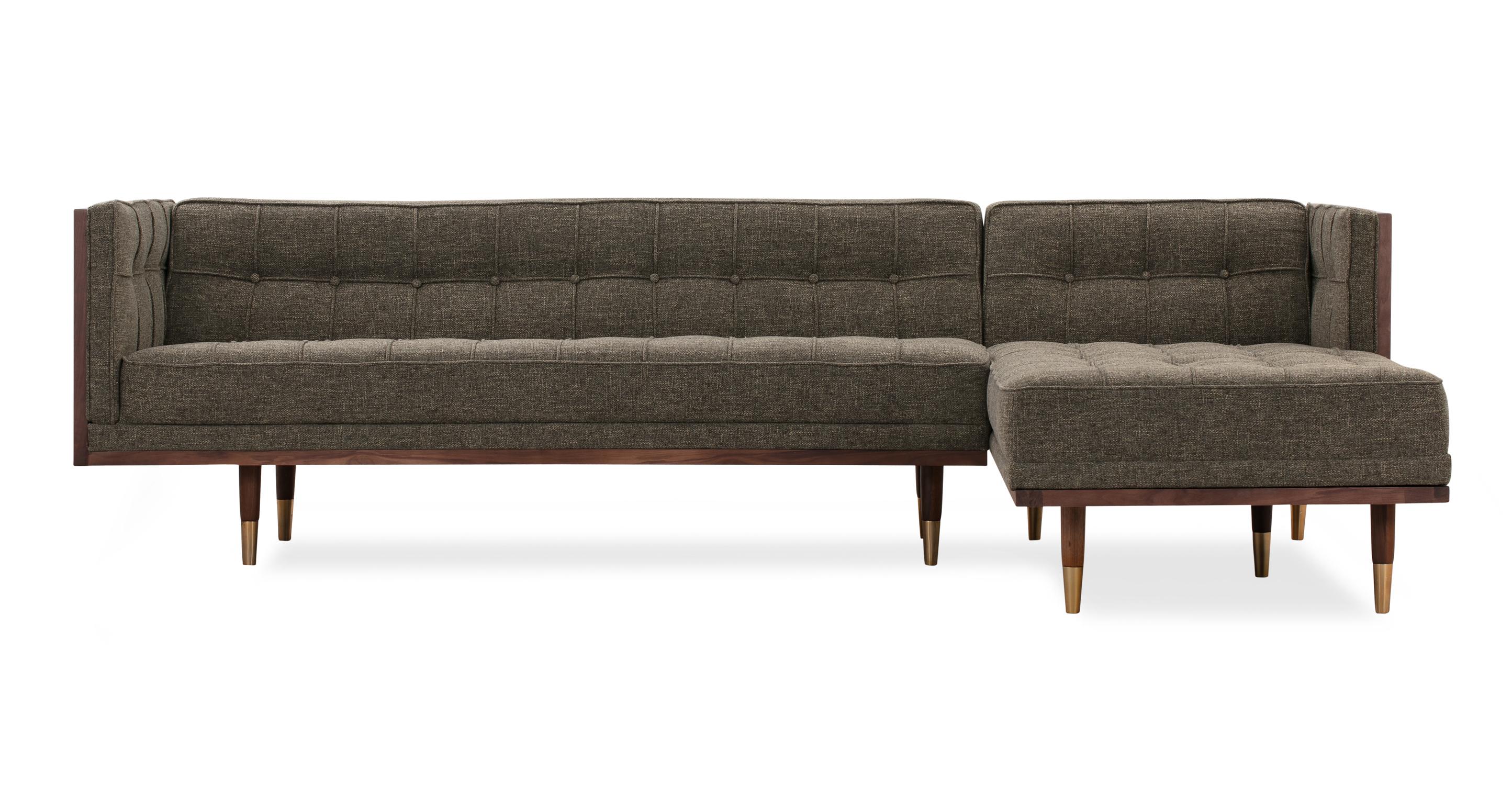 "Woodrow Box 100"" Fabric Sofa Sectional Right, Walnut/Tarragon"