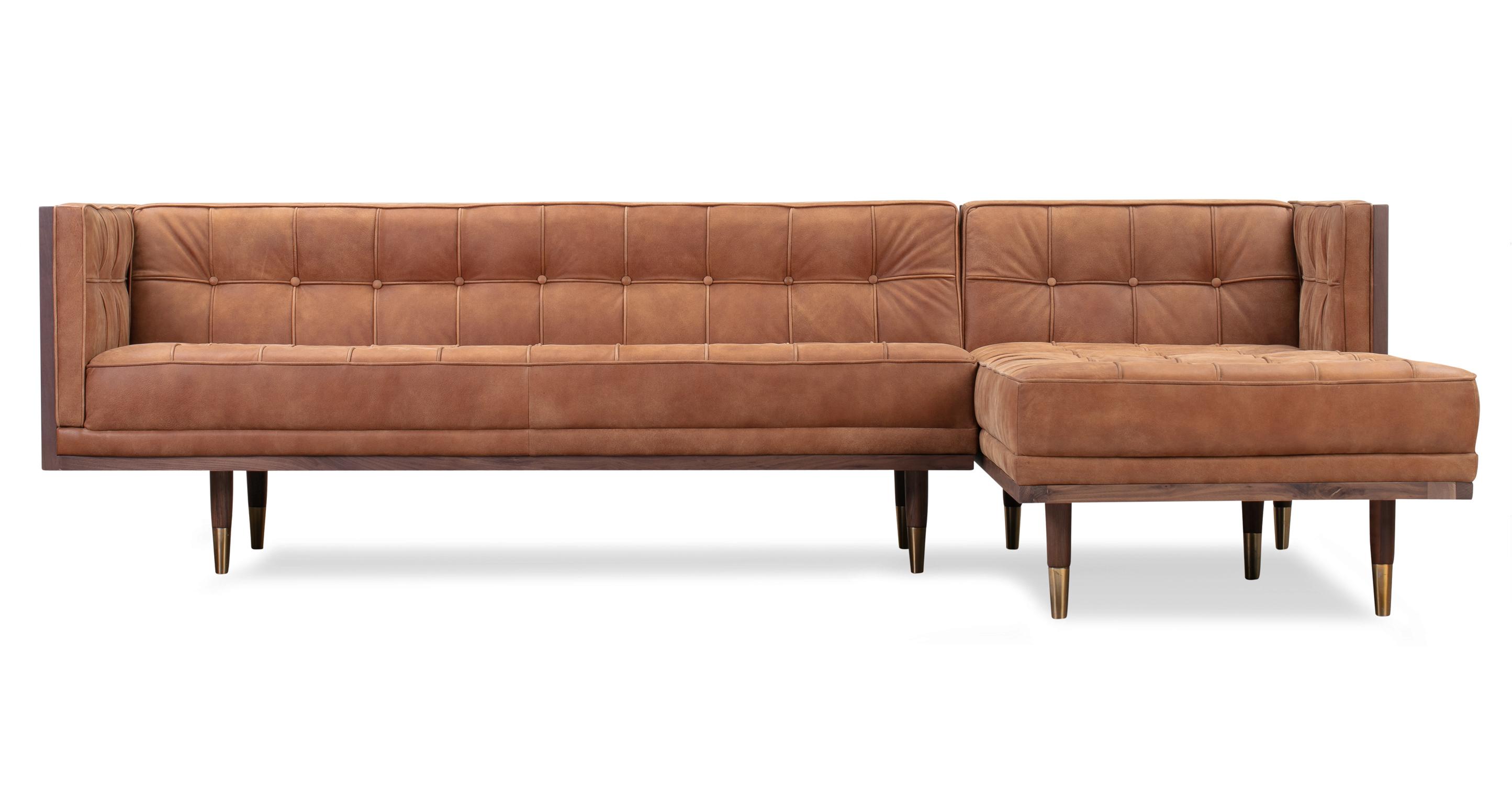 "Woodrow Box 100"" Leather Sofa Sectional Right, Walnut/Cognac"
