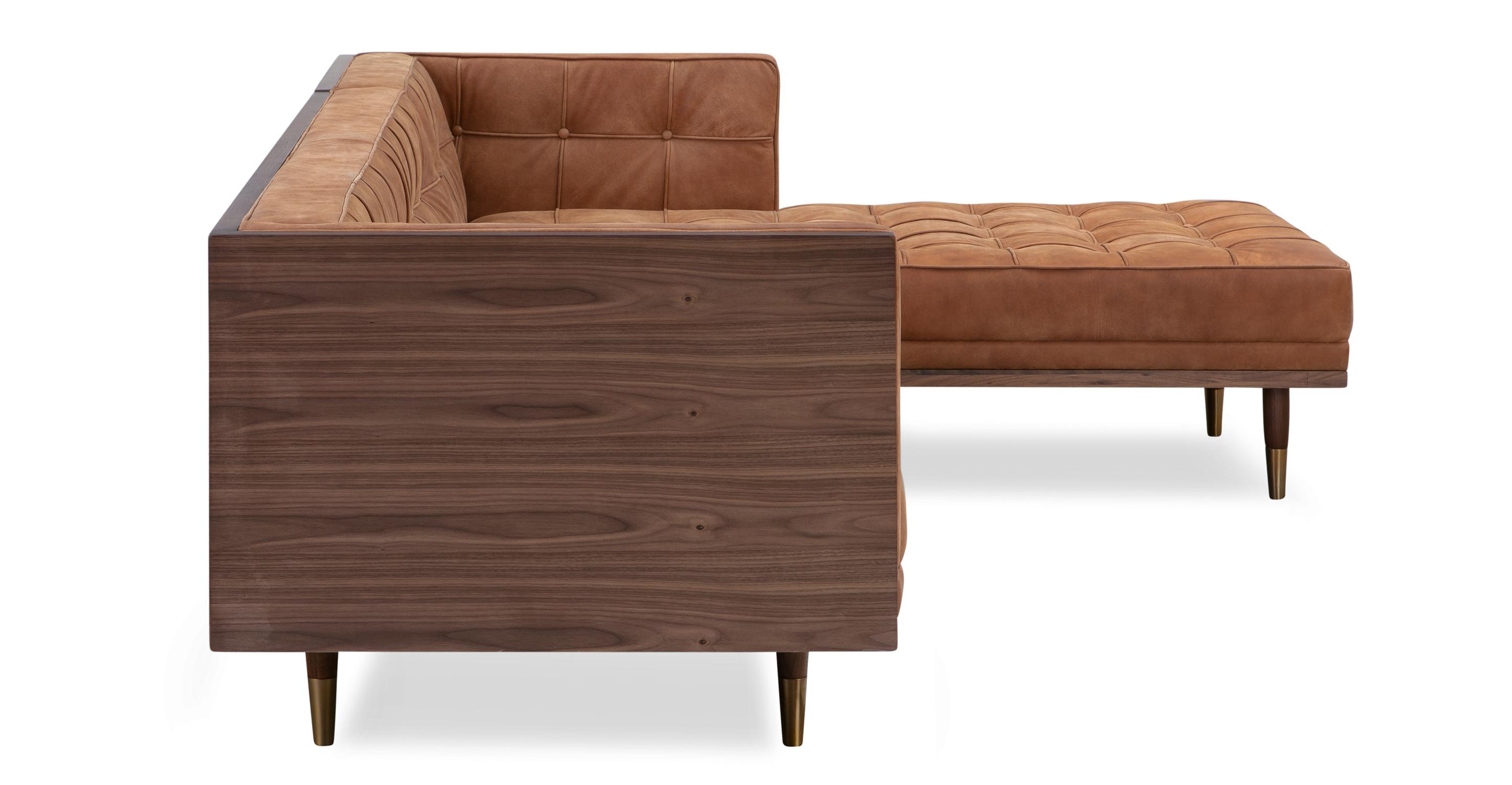 "Woodrow Box 100"" Sofa Sectional Right, Walnut/Cognac Full Grain Aniline"