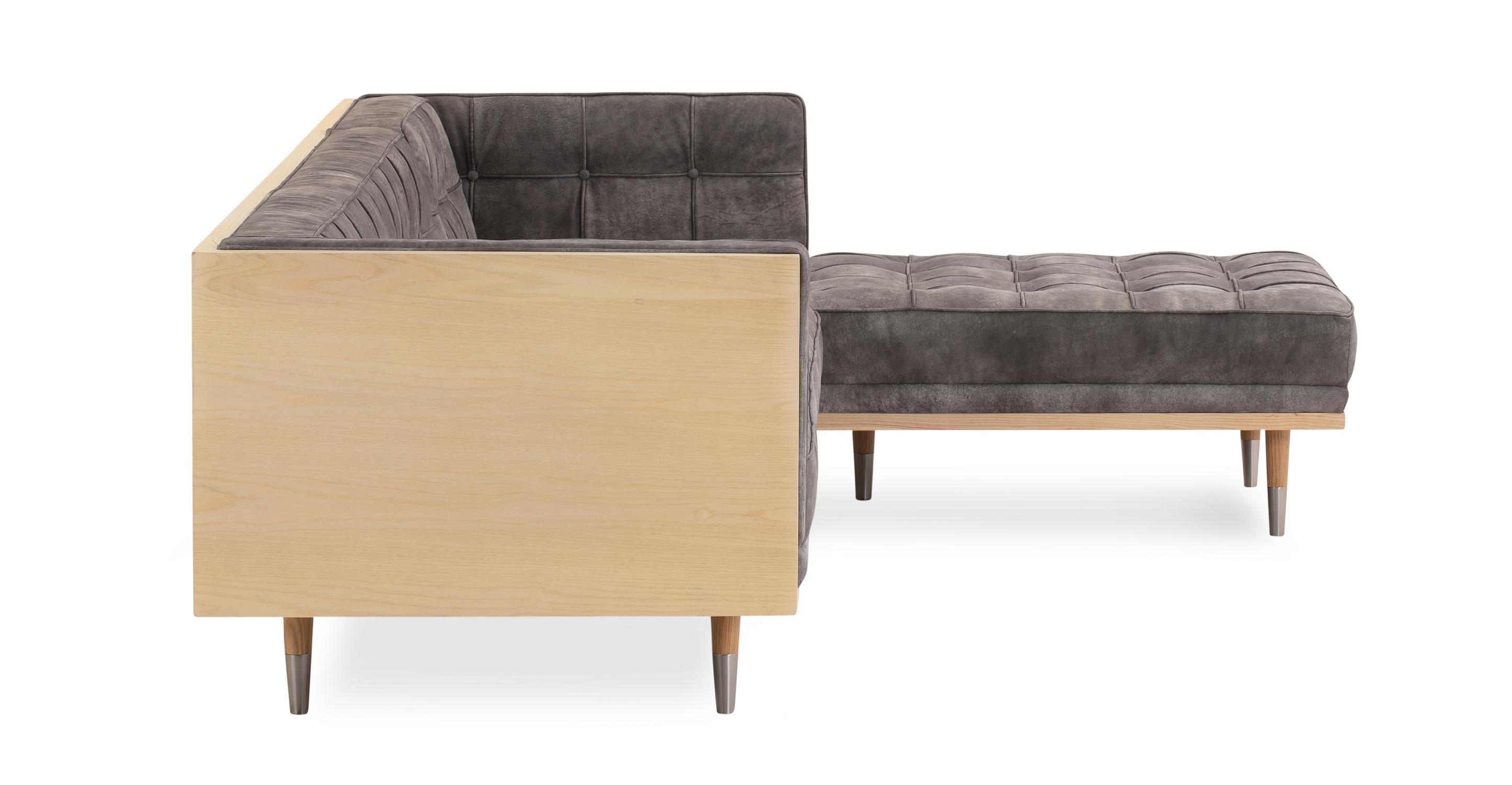 Woodrow Box Sofa Sectional Right, Ash/Elefante Full Grain Aniline