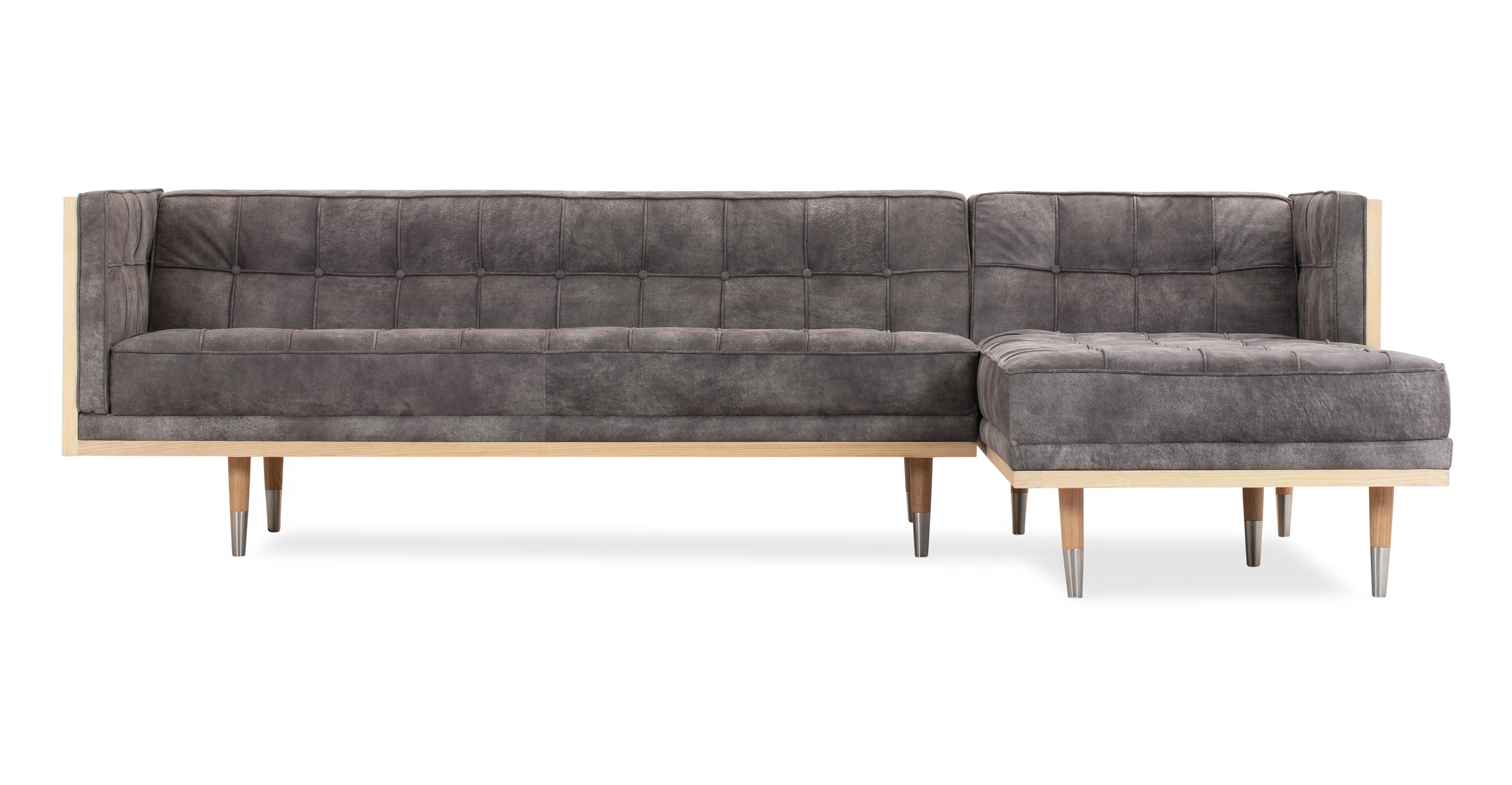 "Woodrow Box 100"" Leather Sofa Sectional Right, Ash/Elefante"