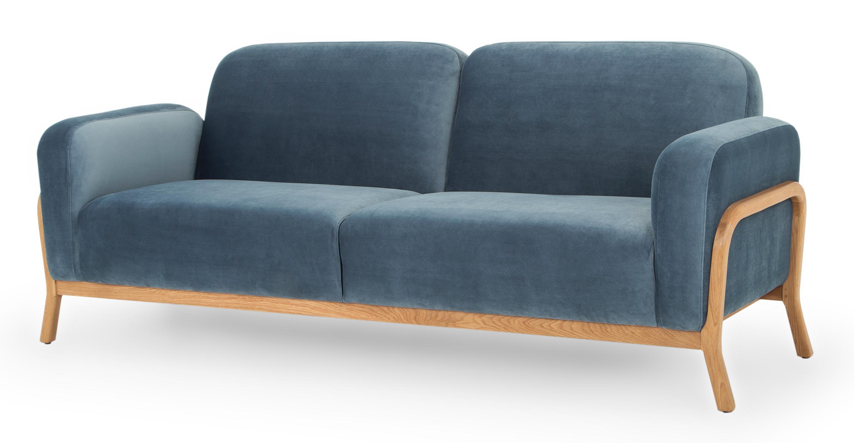 "Cabbie 85"" Fabric Sofa, Celestial Velvet"