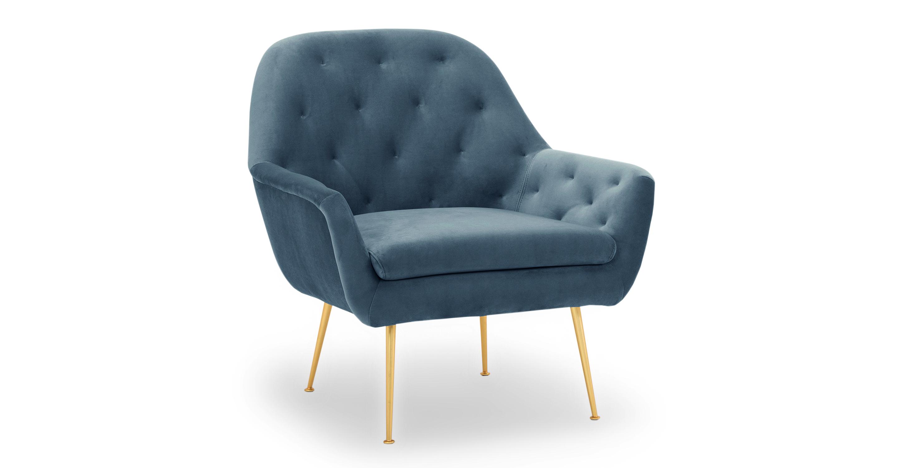 """Carmen 29"""" Fabric Chair, Celestial Velvet"""