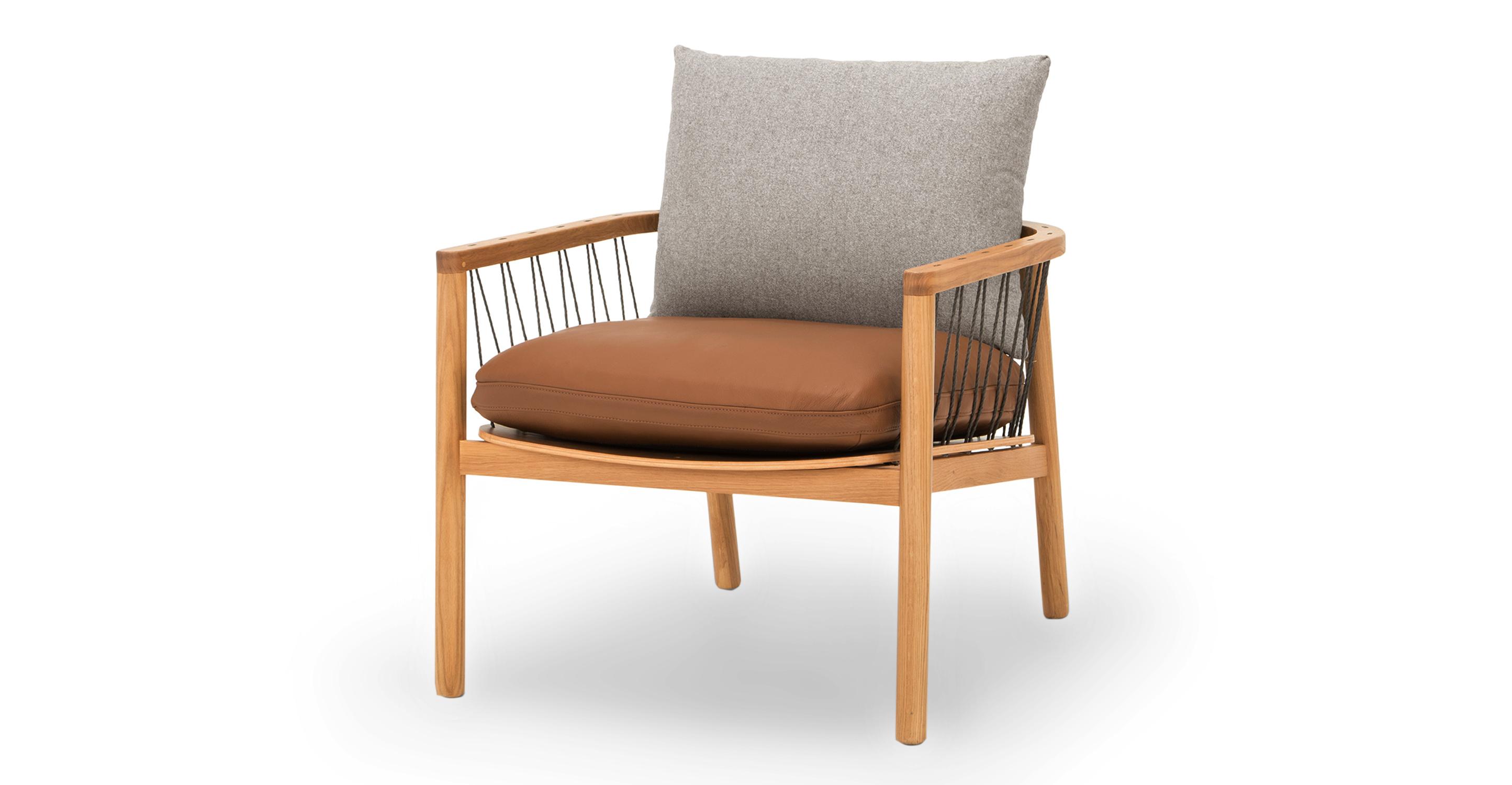 "Crosshatch 28"" Chair, Stone & Bronze"