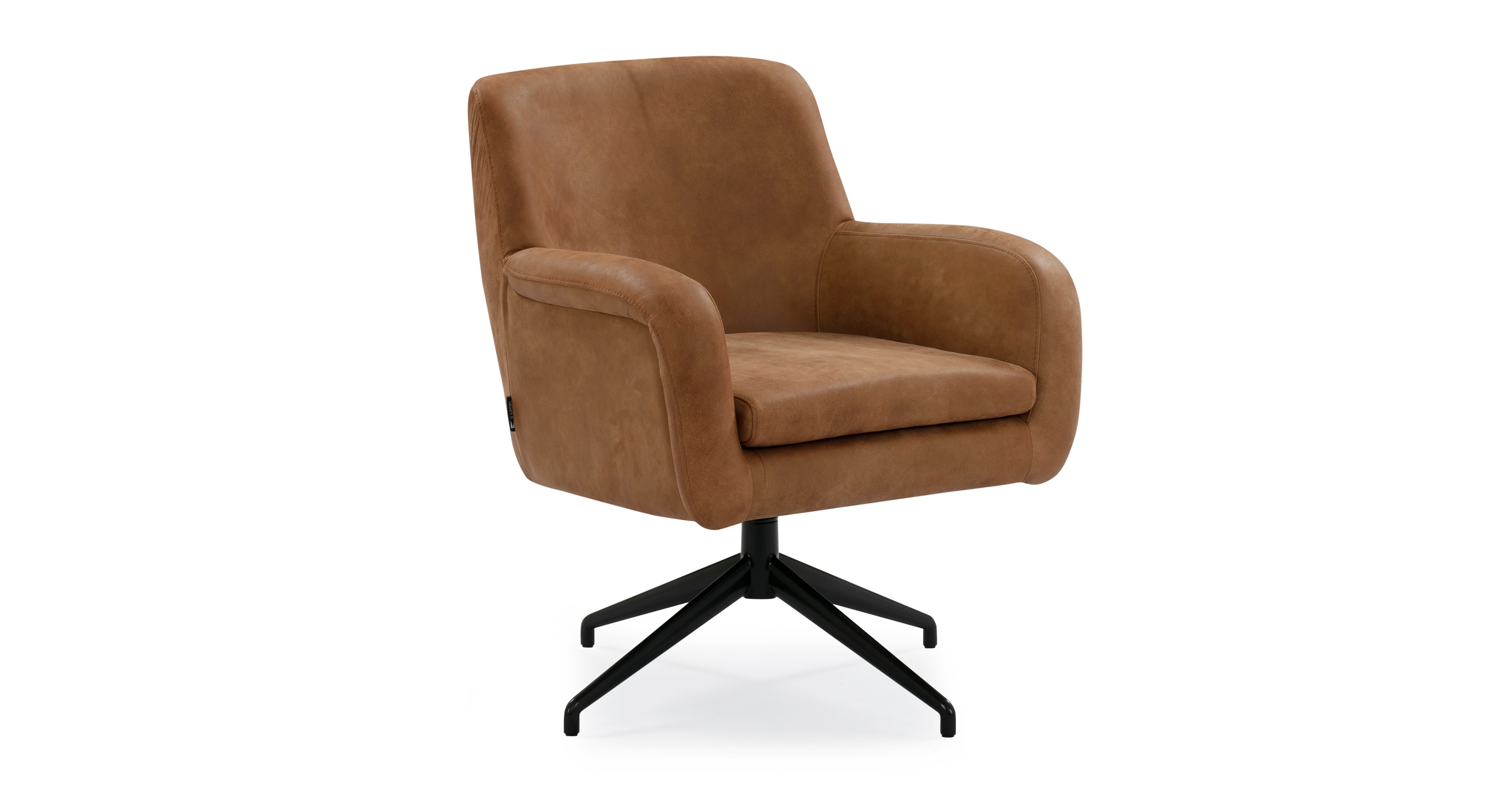 "Cameron 25"" Leather Chair, Cognac Full Grain Aniline"