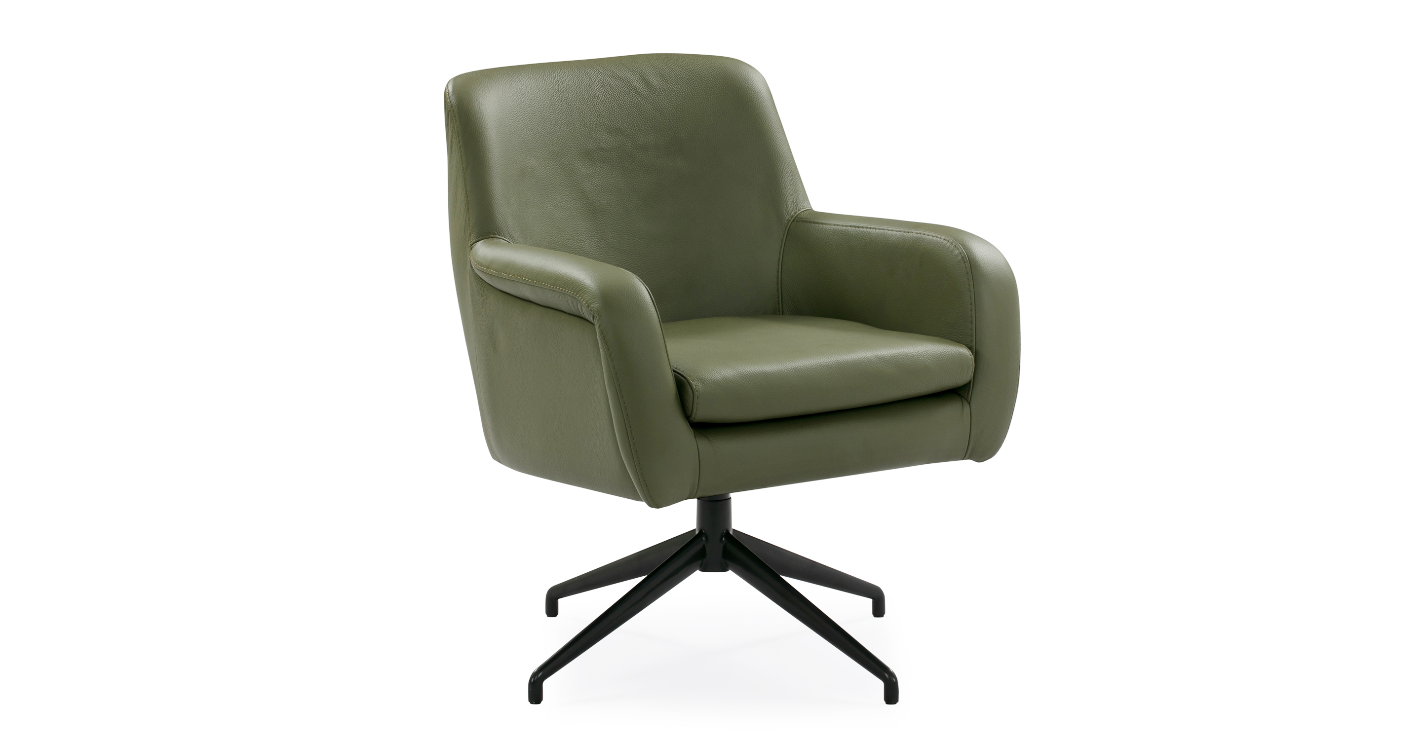 "Cameron 25"" Leather Chair, Olive Top Grain Aniline"