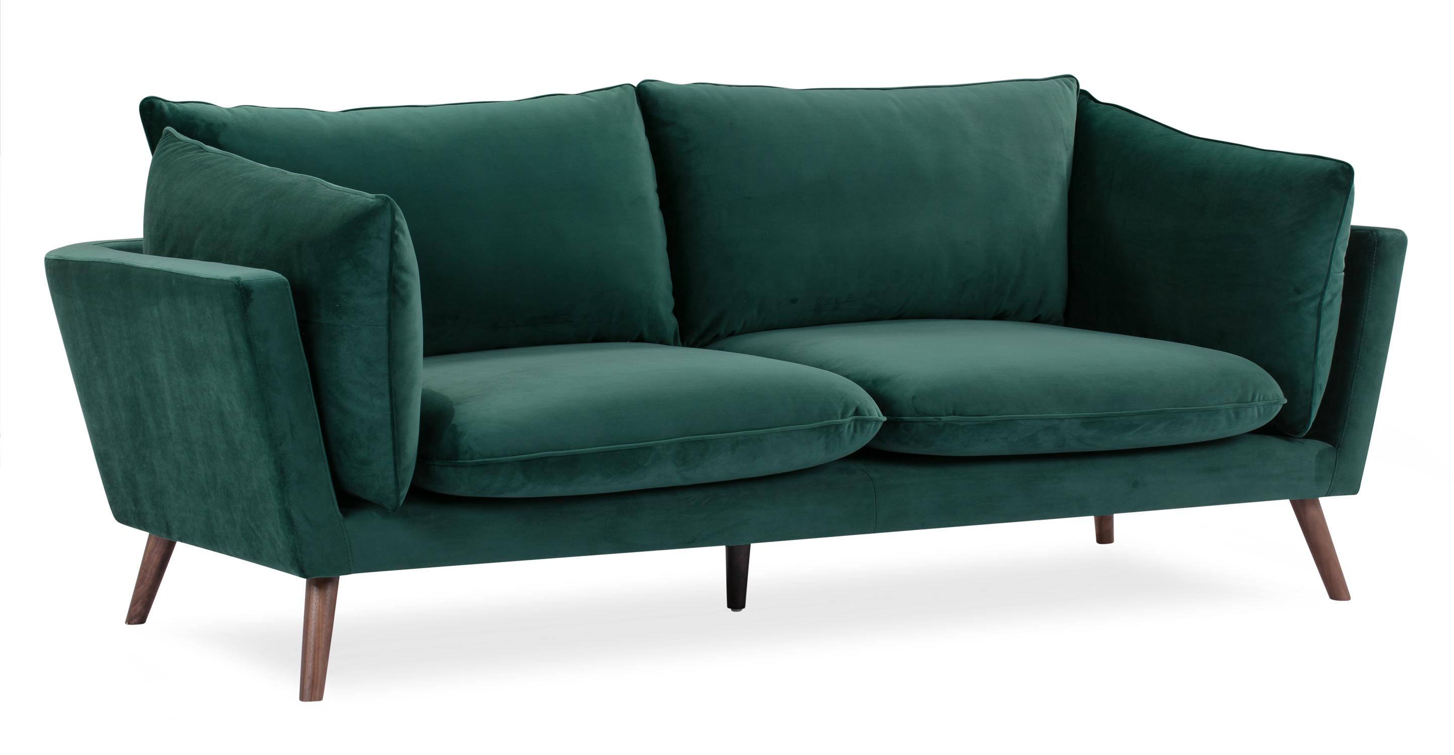 """Michelle 87"""" Fabric Sofa, Forest Velvet"""
