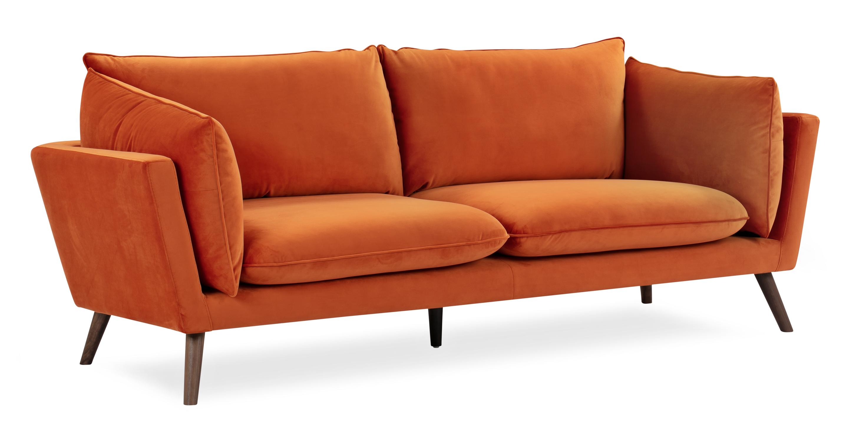 """Michelle 87"""" Fabric Sofa, Spice Velvet"""