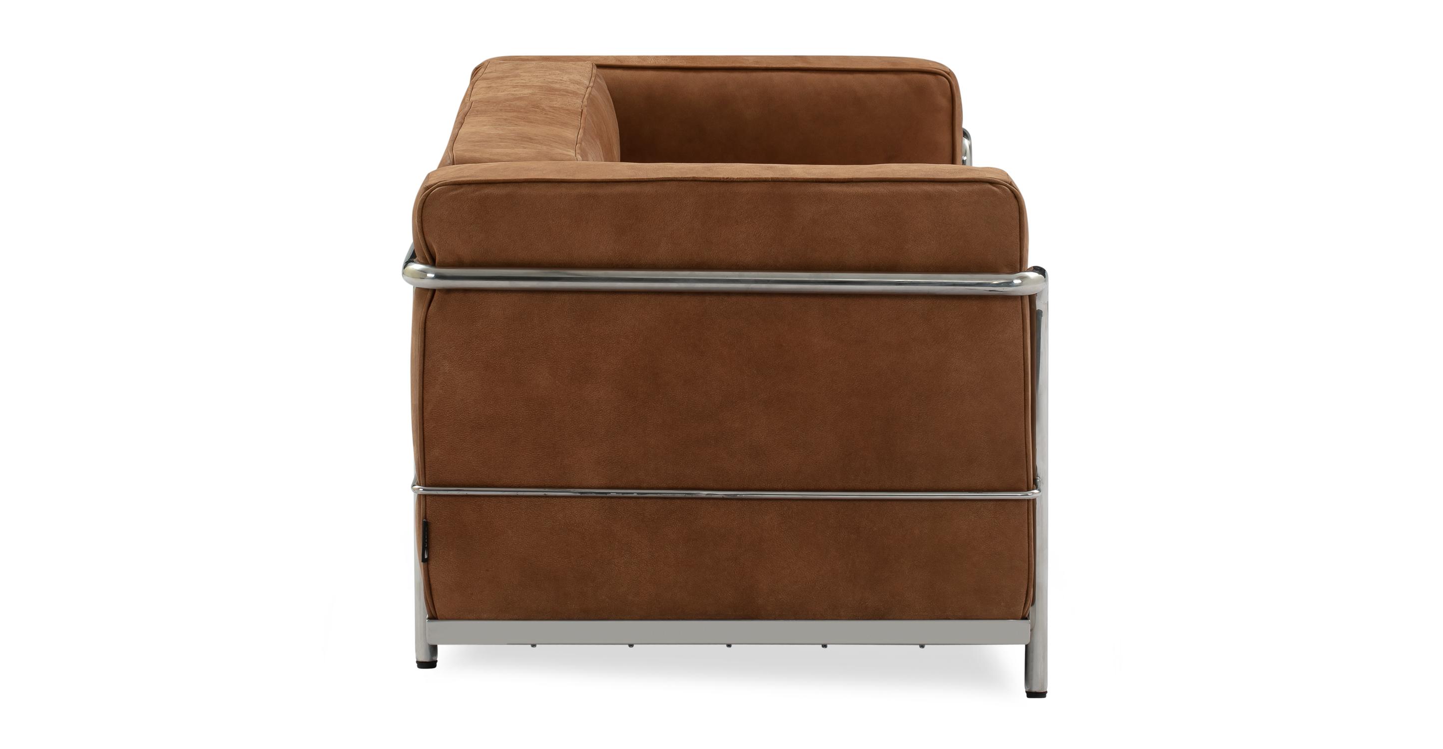 """Roche 63"""" Leather Sofa, Cognac Full Grain Aniline"""