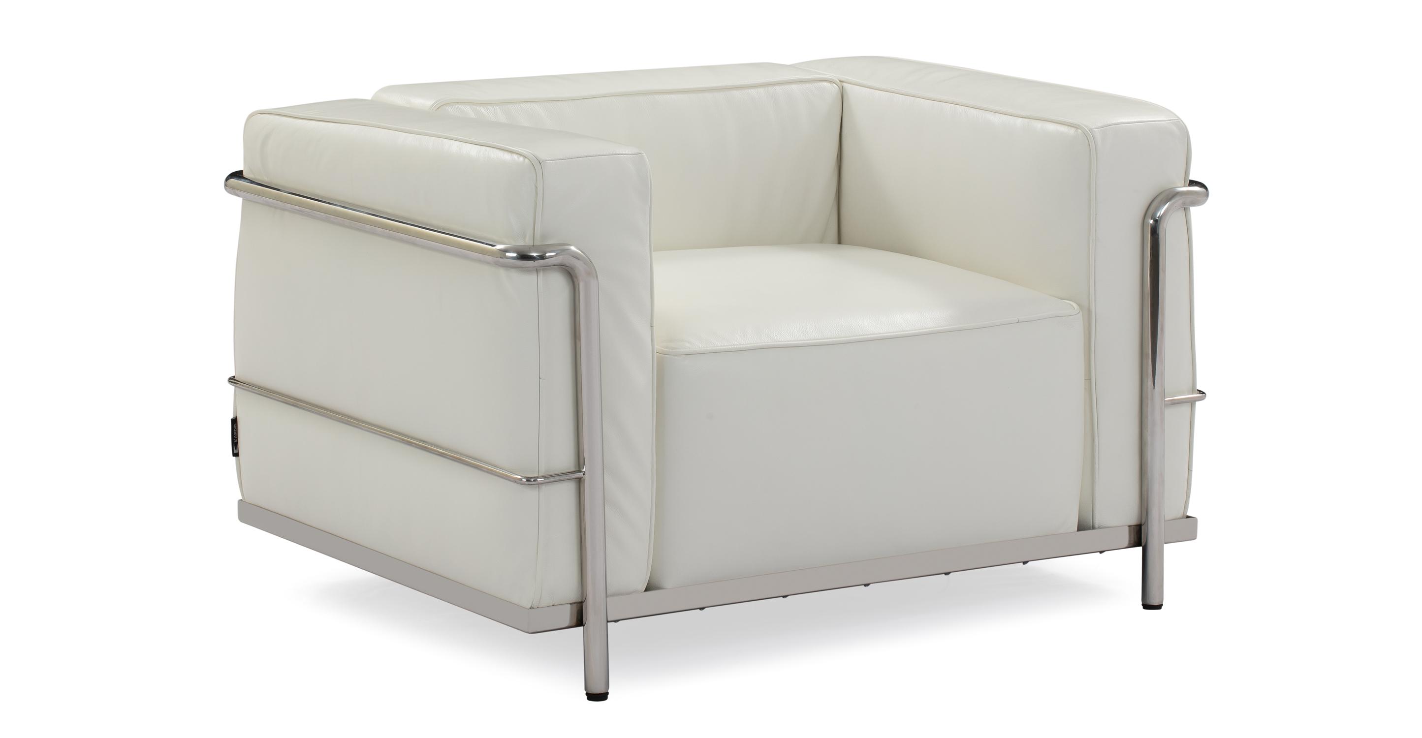 """Roche 39"""" Leather Chair, White Top Grain Aniline"""